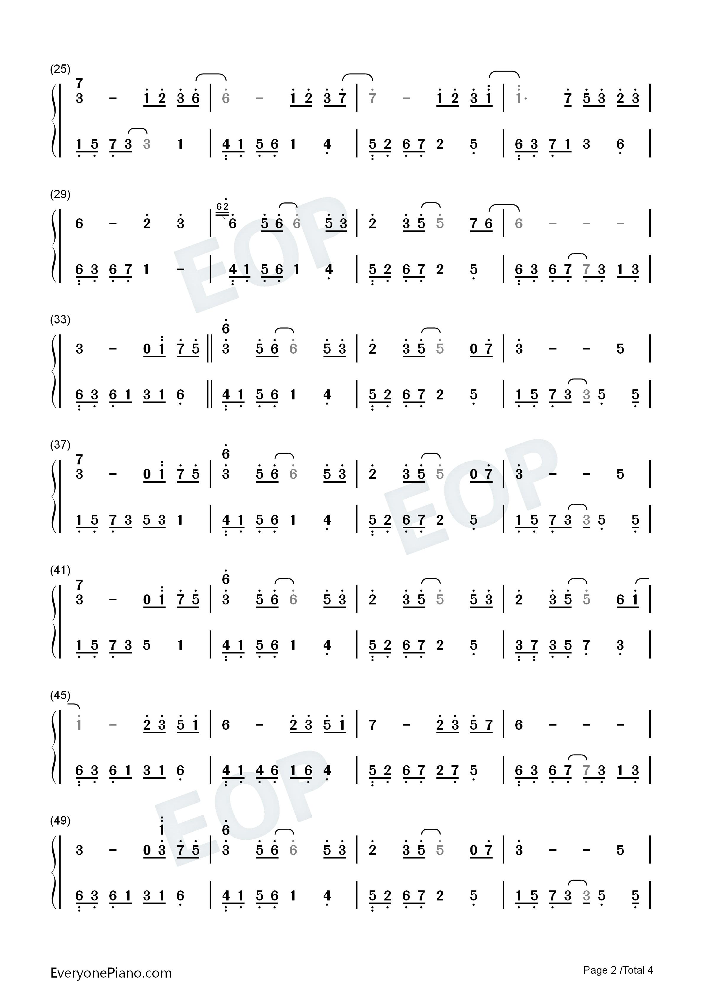 花的微笑-夜的钢琴曲 8双手简谱预览2图片