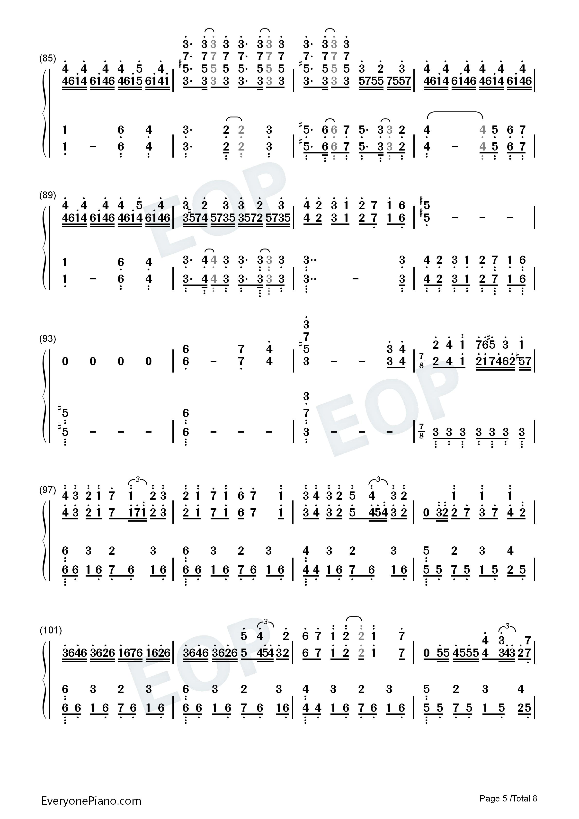 亡灵钢琴-长腿叔叔双手简谱预览5图片