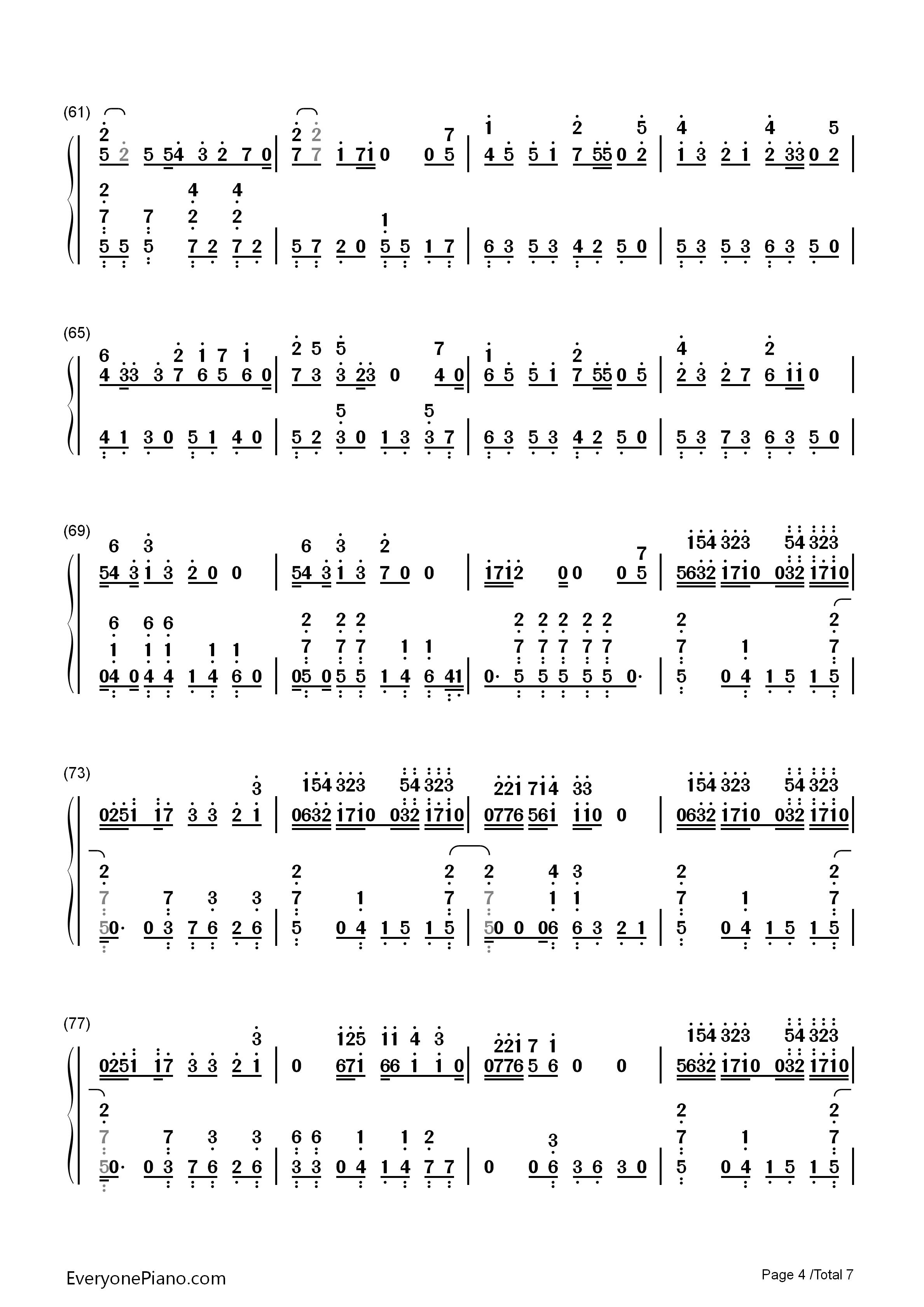 钢琴曲谱 动漫 夕日坂-初音未来-eop教学曲