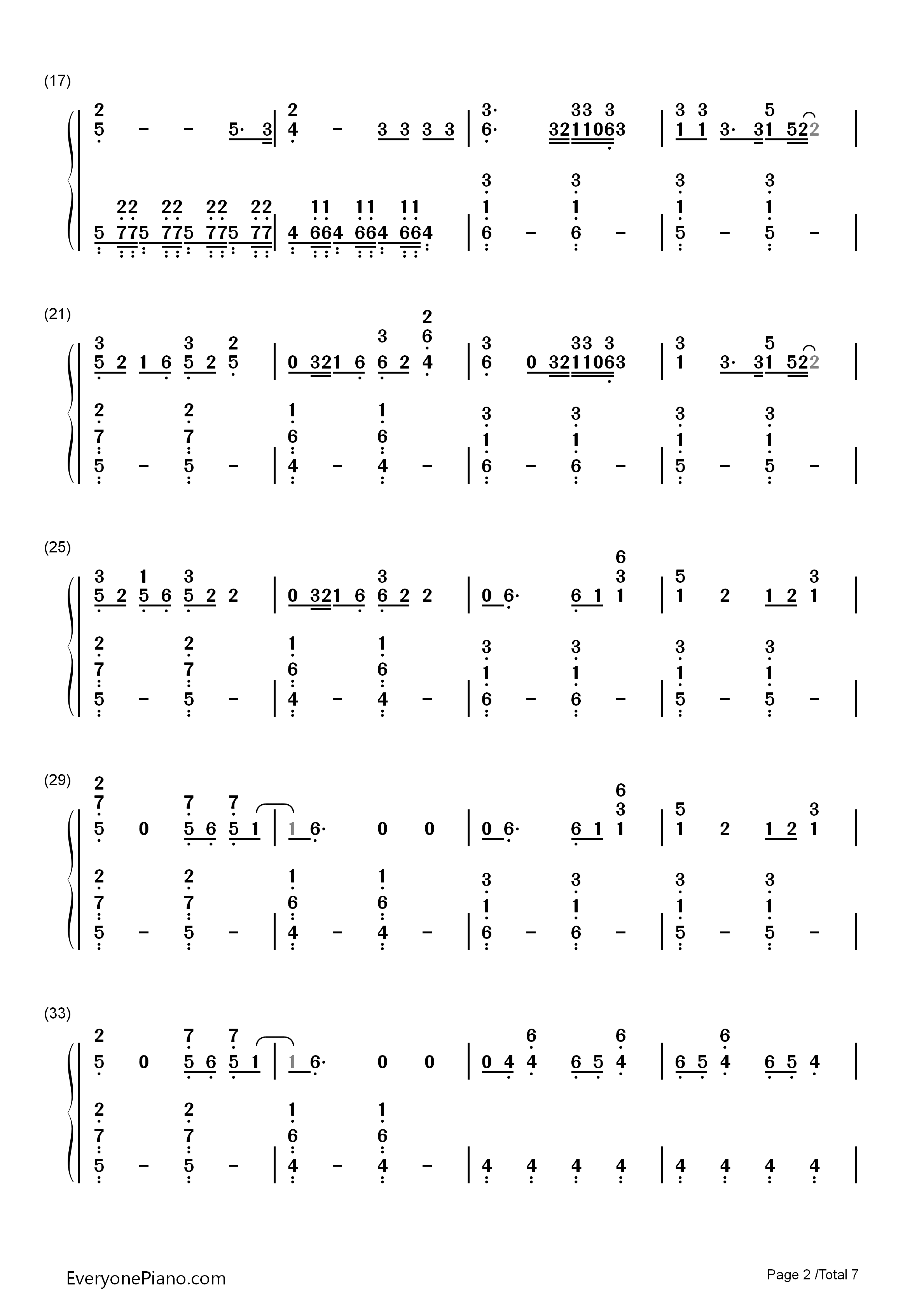 凉凉钢琴数字简谱双手-countingstars璋愰煶