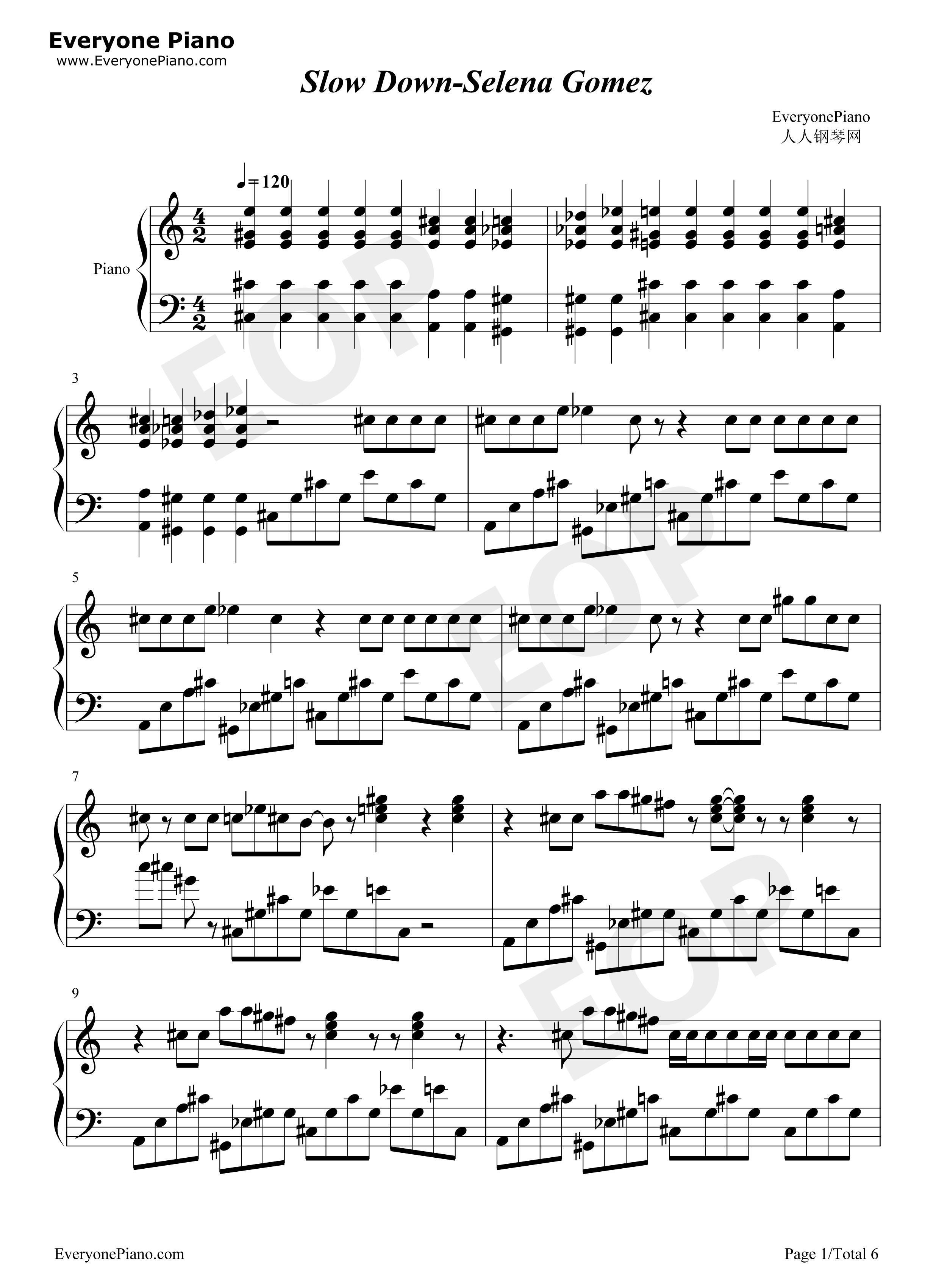 down-selena gomez五线谱预览1-钢琴谱