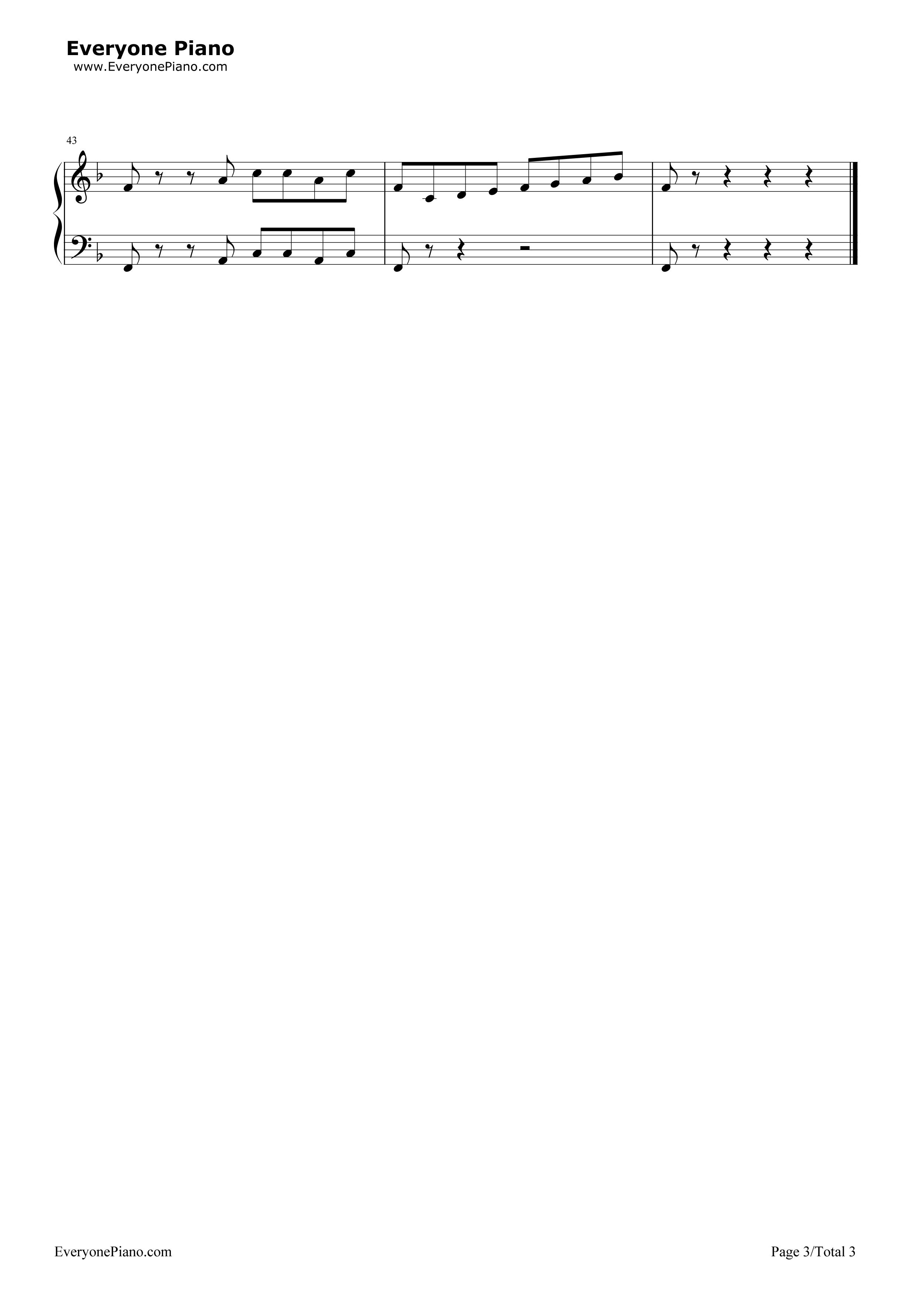 冒险岛bgm-fc游戏《冒险岛》-eop教学曲五线谱预览3