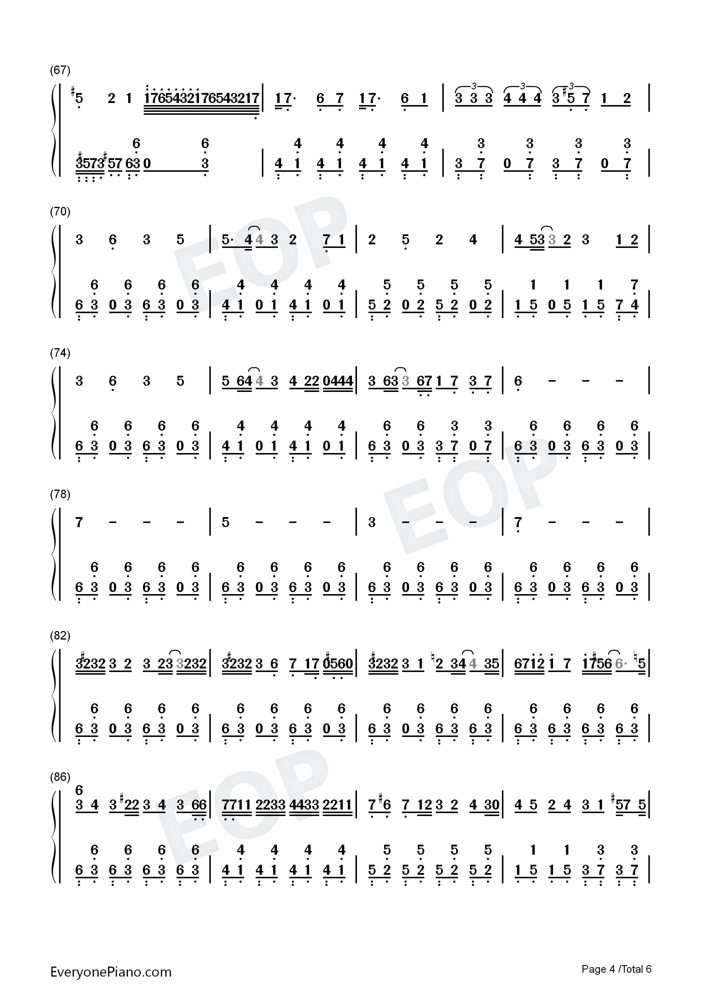 火葬曲-eop教学曲双手简谱预览4
