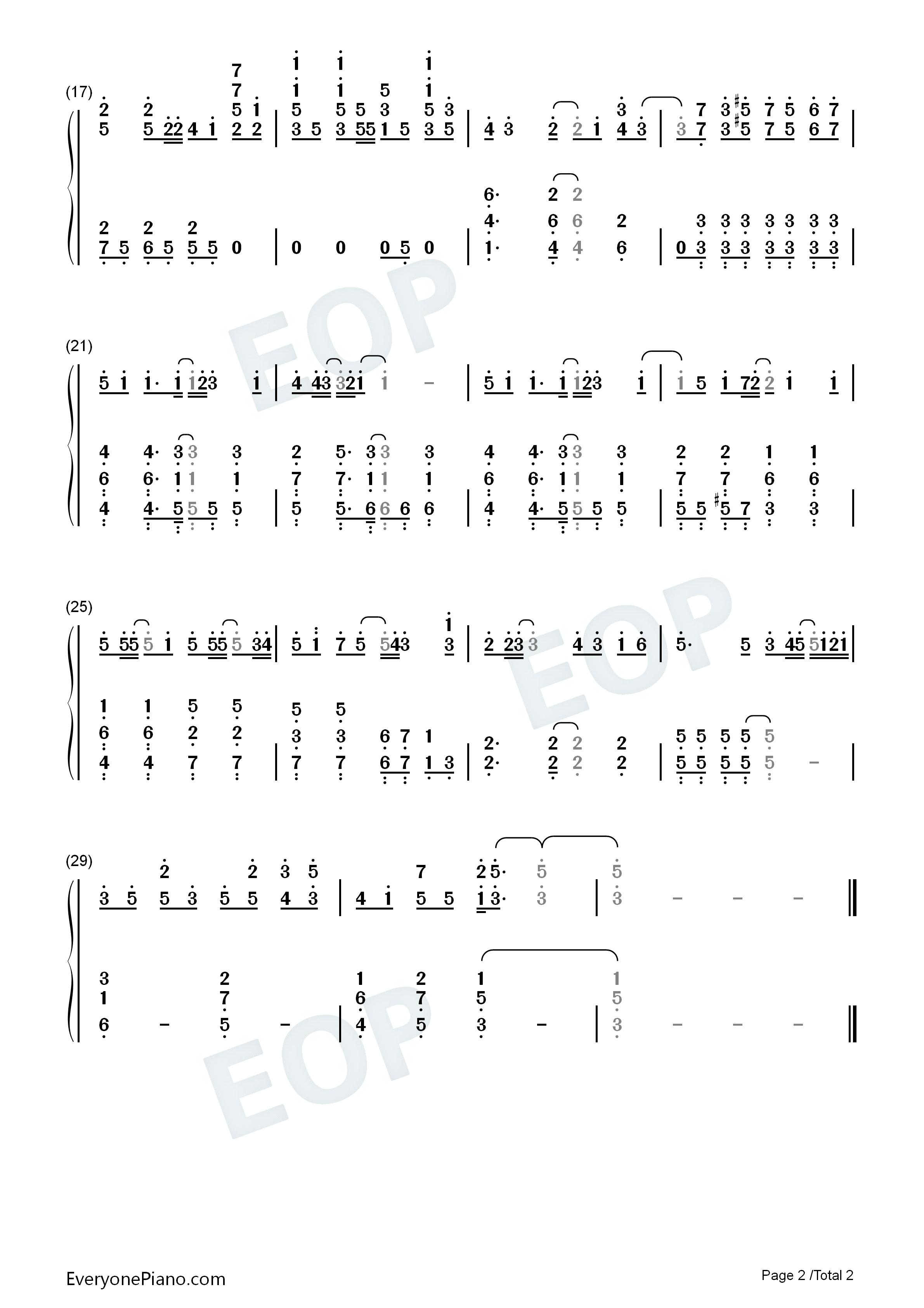 樱日和-《死神》片尾曲-eop教学曲双手简谱预览2