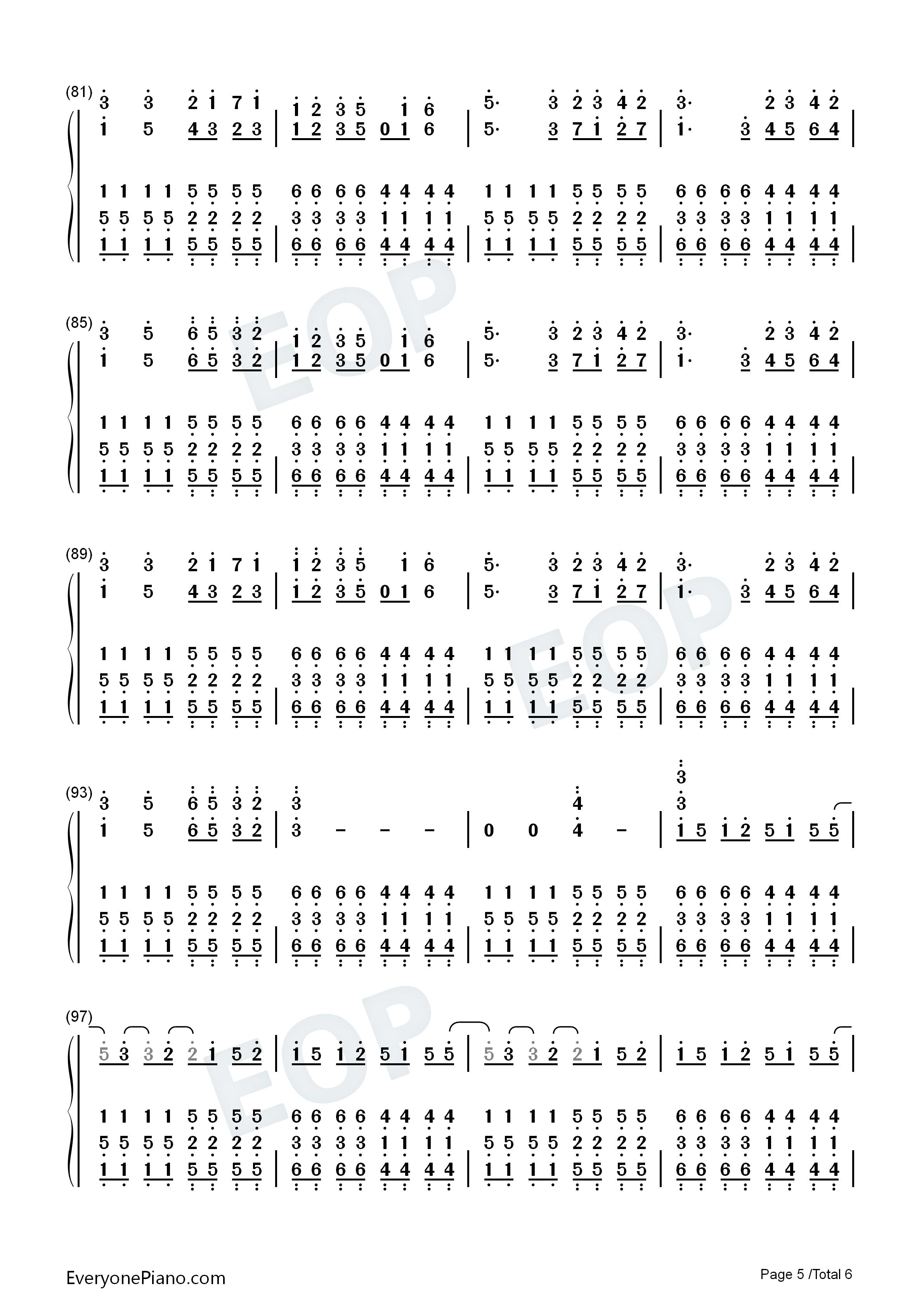 弱虫モンブラン-eop教学曲双手简谱预览5-钢琴谱(,)