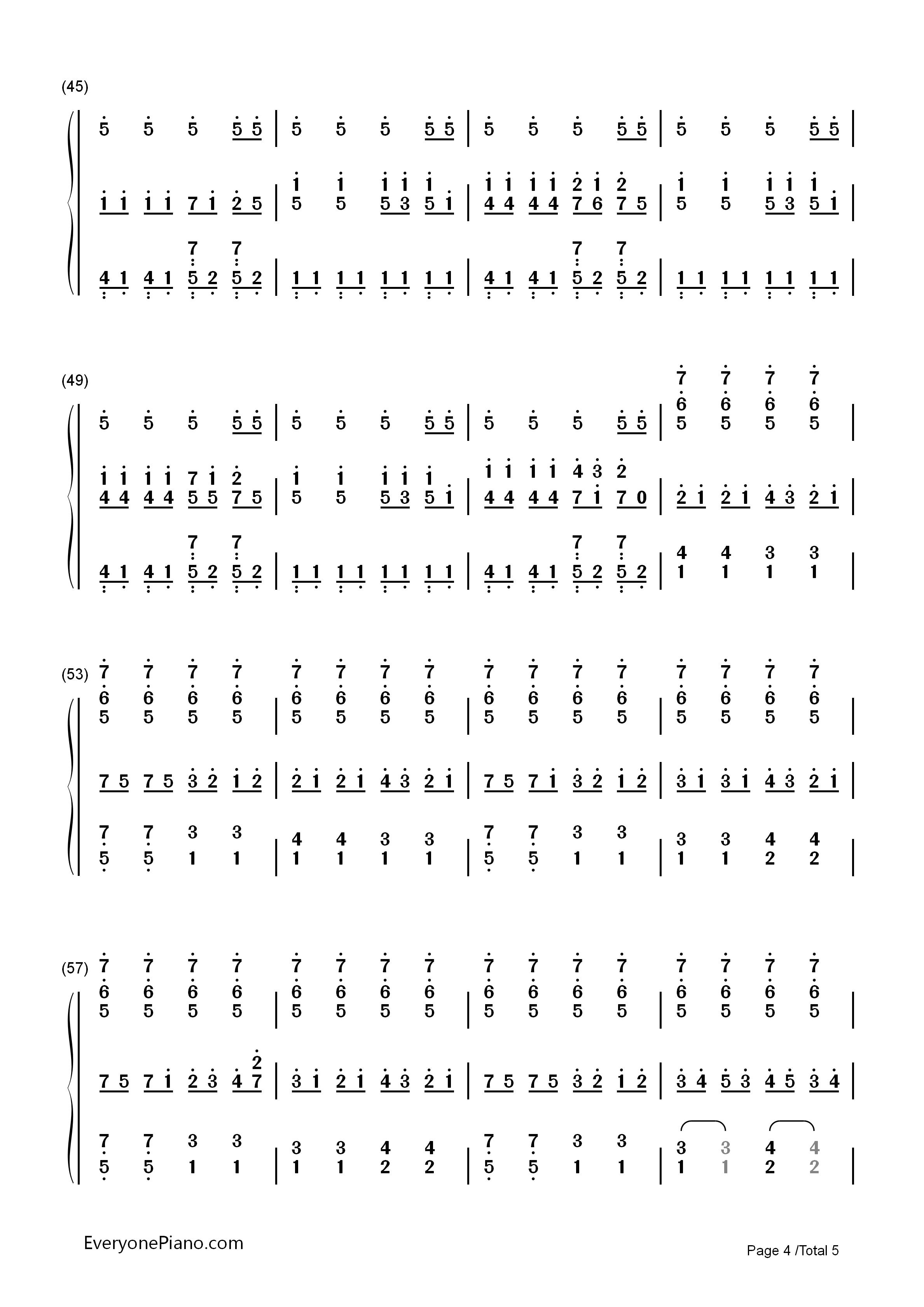 圆周率之歌-初音未来三神曲之一双手简谱预览
