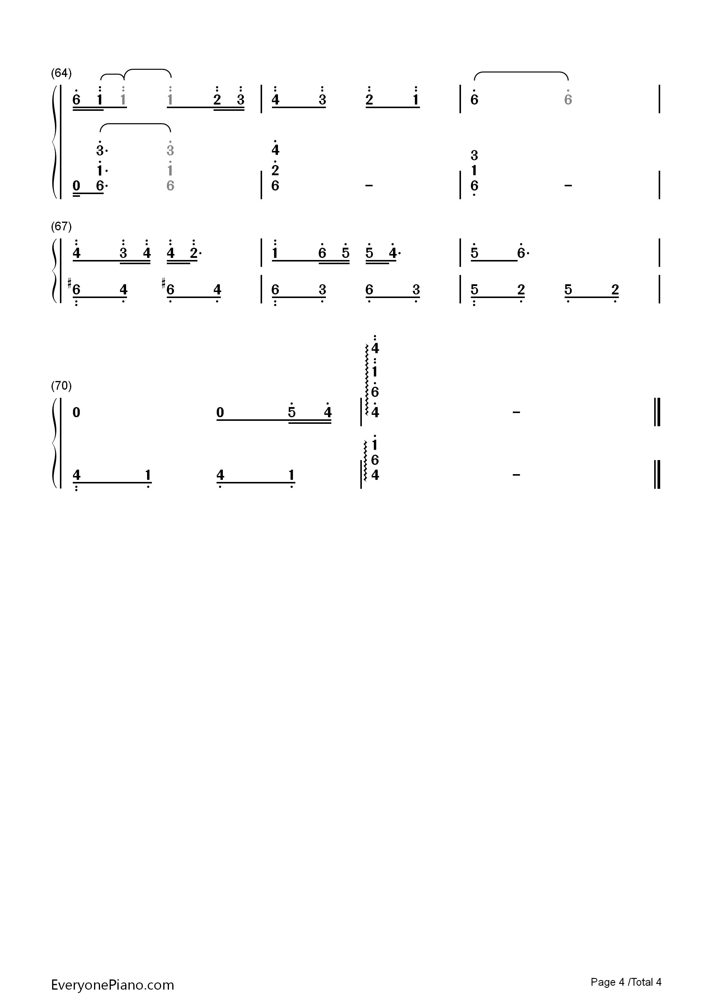 云中的angel-张杰双手简谱预览4-钢琴谱(五线谱,双手)