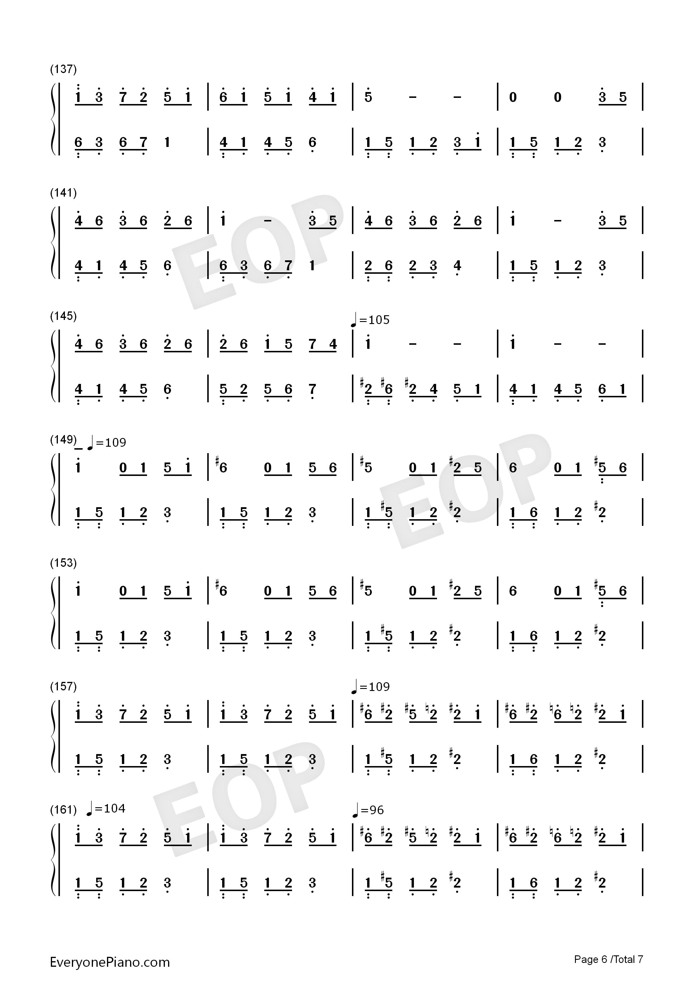 永远的鲜花双声部曲谱-简谱 钢琴谱 五线谱