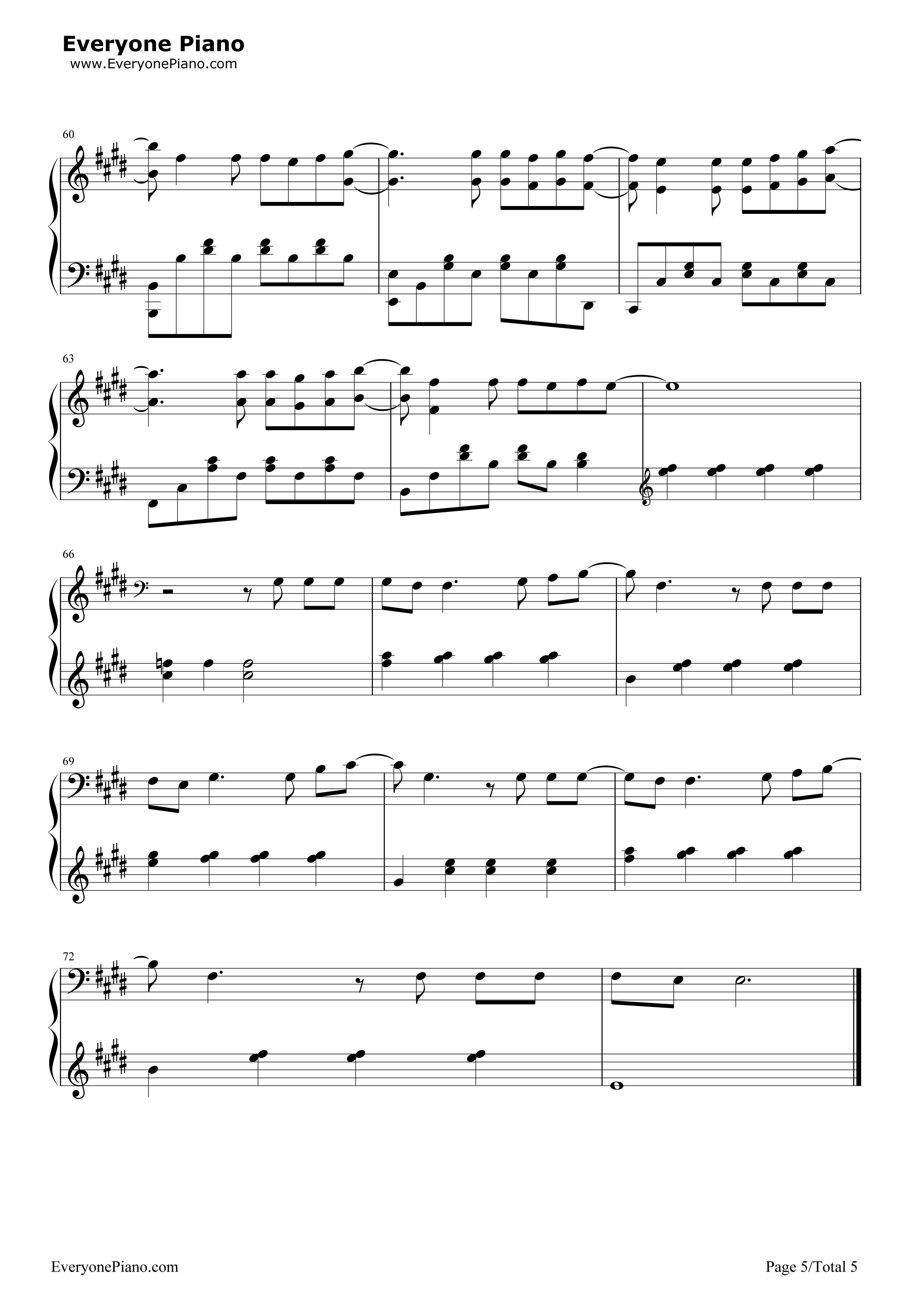 泡沫-邓紫棋五线谱预览5-钢琴谱