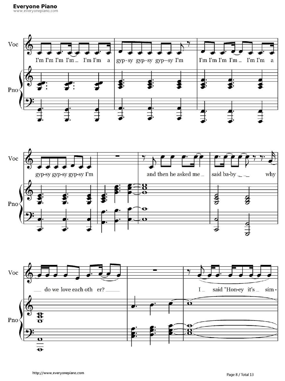 五线谱 双手简谱 数字谱 Midi PDF 免费下载