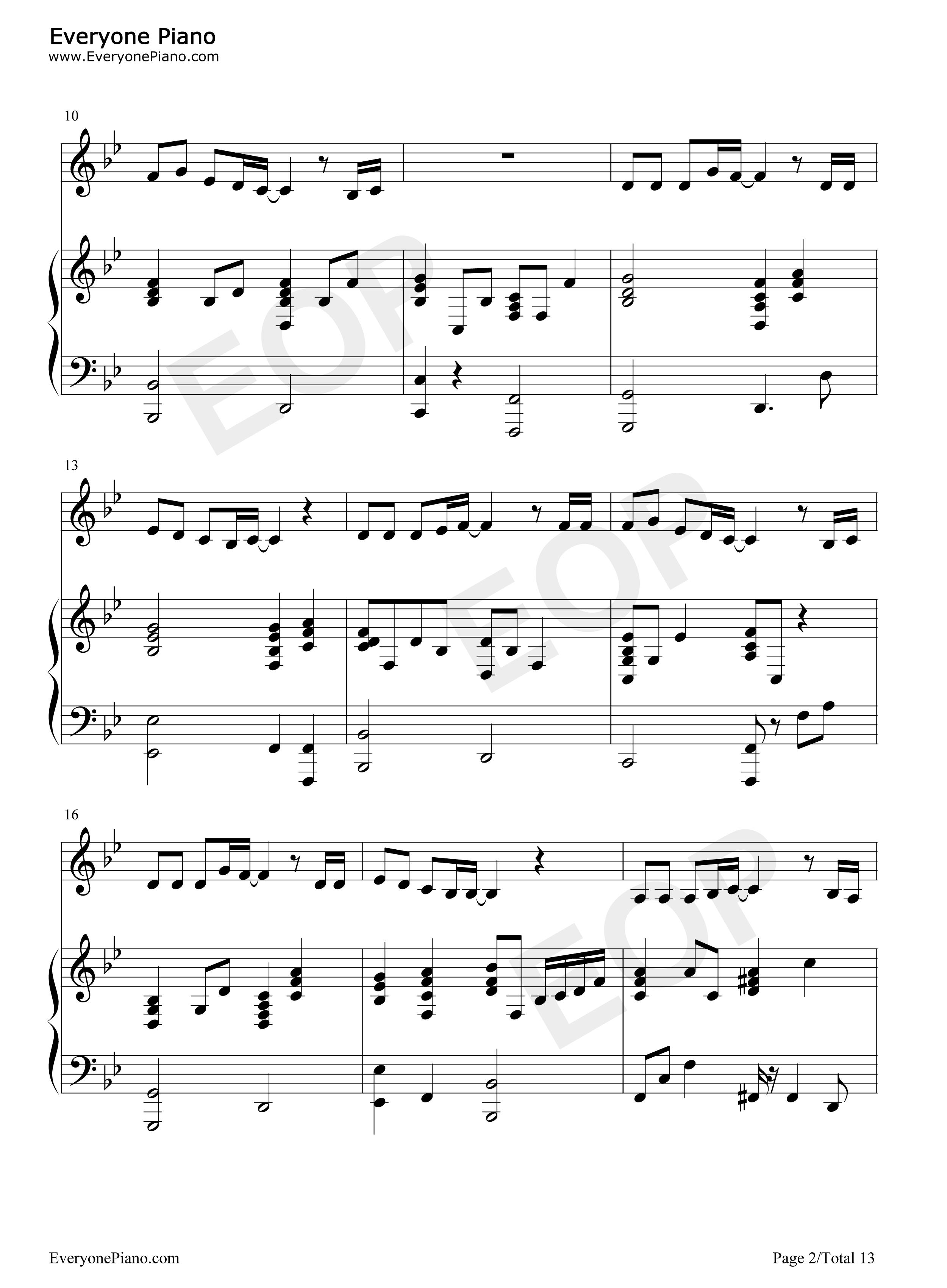 支え-akb48五线谱预览2-钢琴谱文件(五线谱,双手简谱