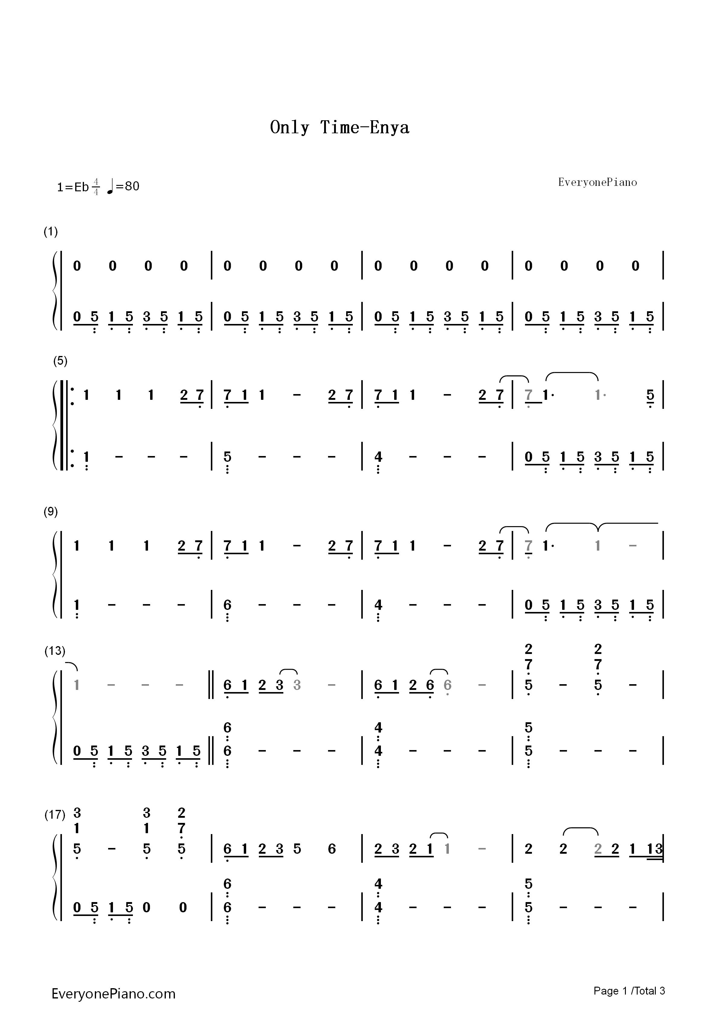 钢琴曲谱 流行 only time-enya