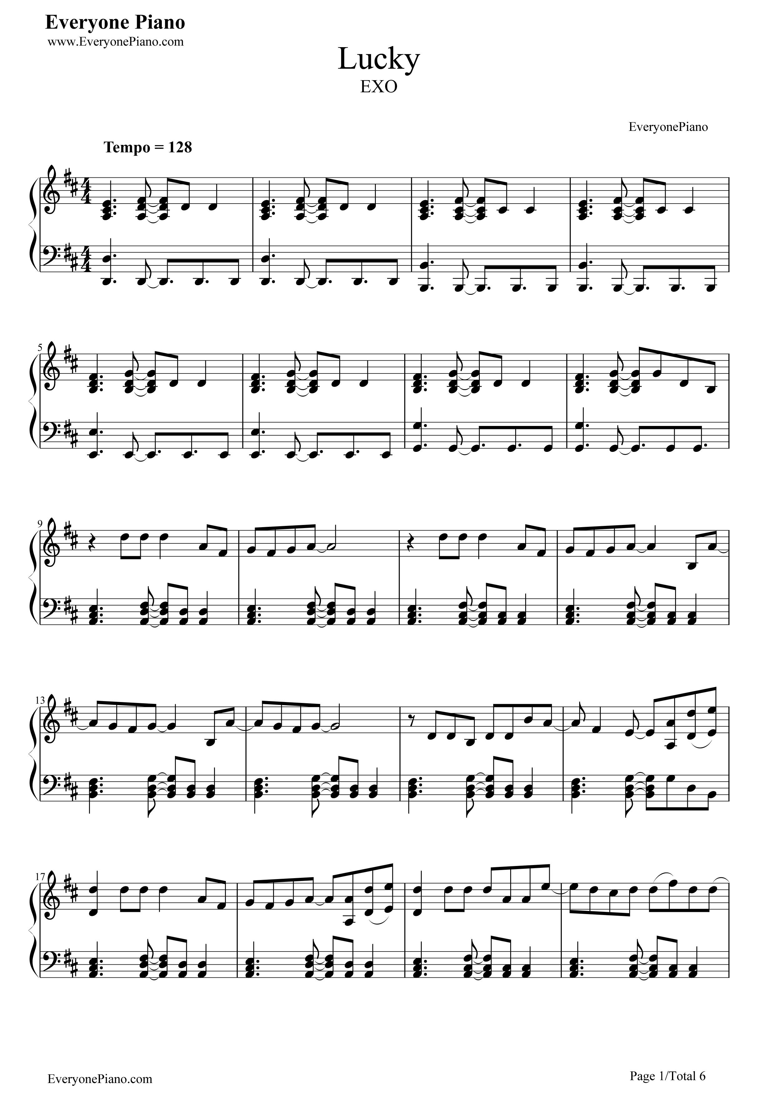 lucky-exo五线谱预览1-钢琴谱