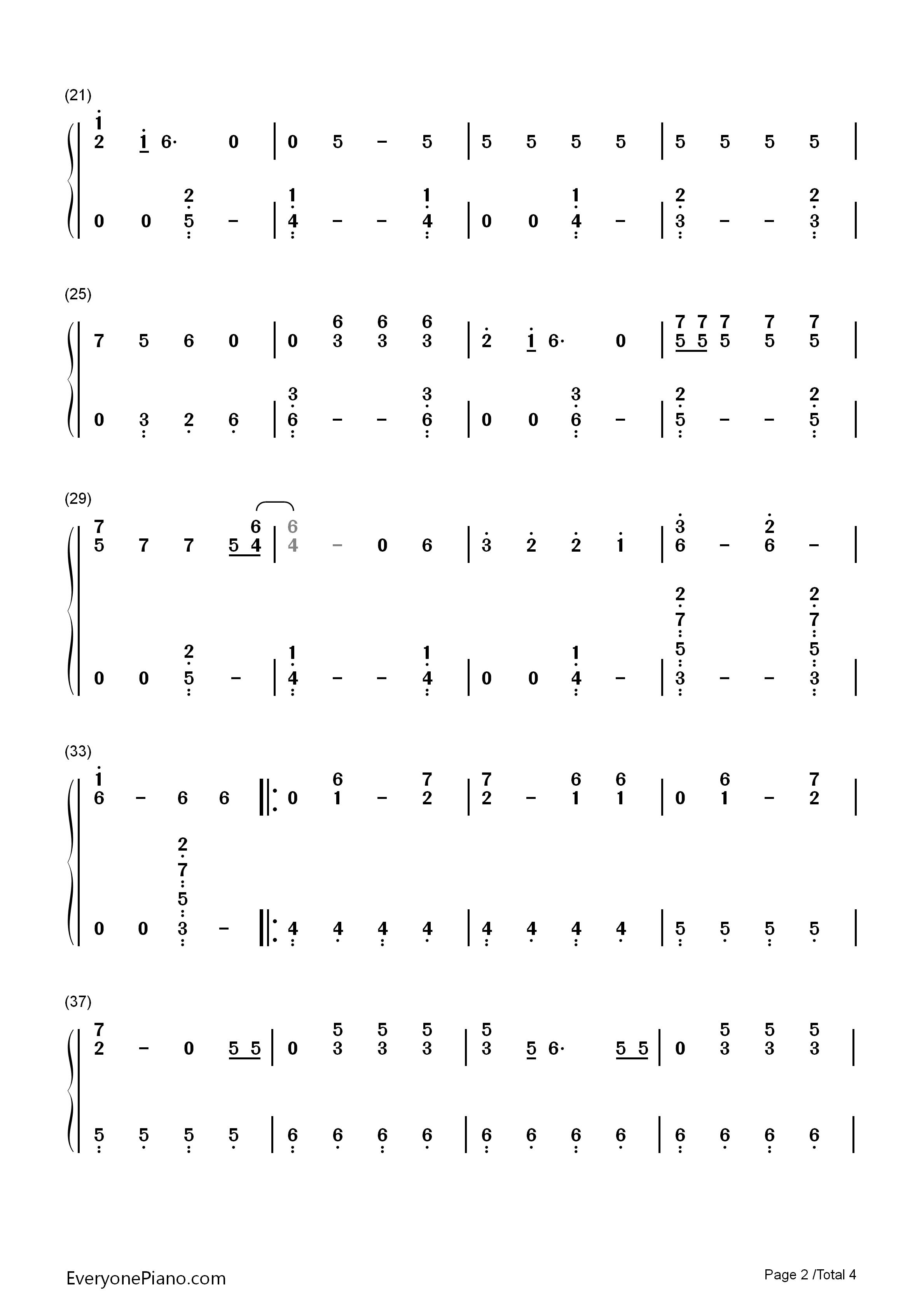 e Exo双手简谱预览2 钢琴谱文件 五线谱 双手简谱 数字谱 Midi PDF