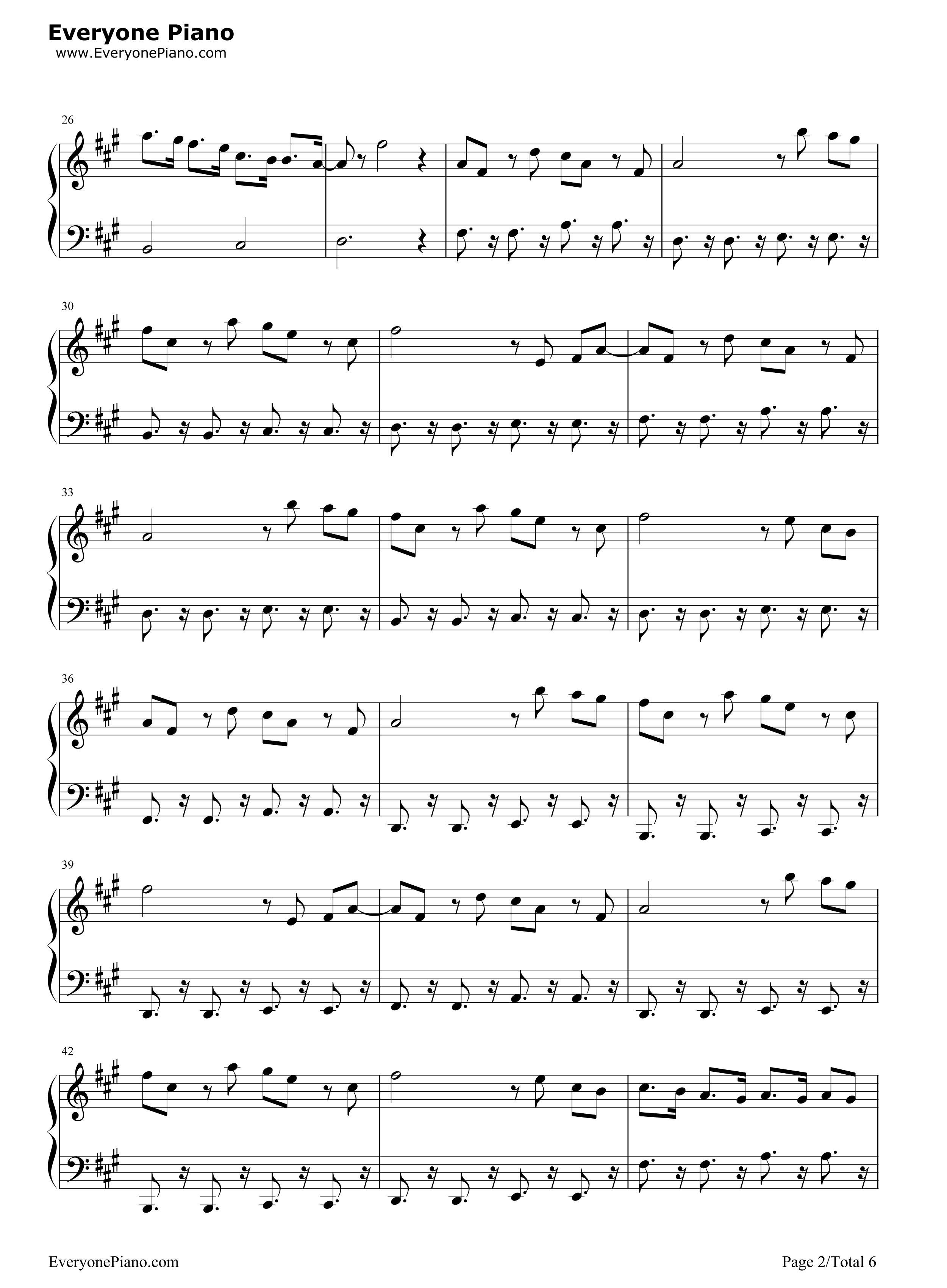 Be the One Avicii五线谱预览2 钢琴谱文件 五线谱 双手简谱 数字谱