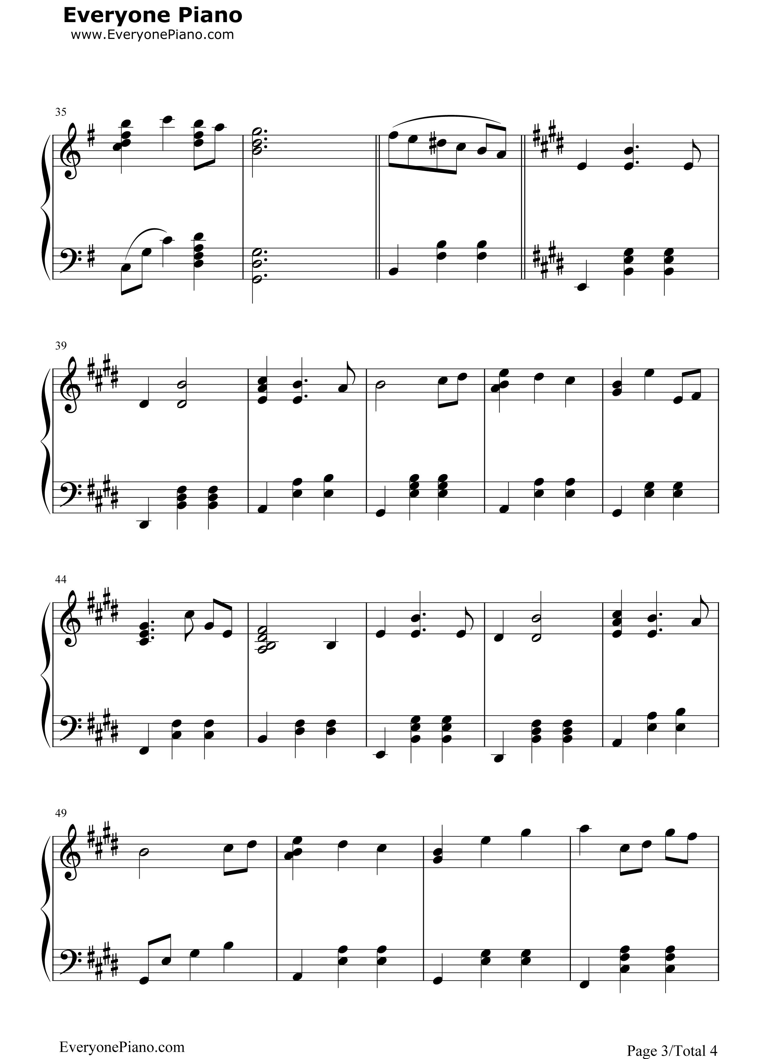 钢琴曲谱 动漫 千寻的华尔兹-千寻のワルツ-千与千寻