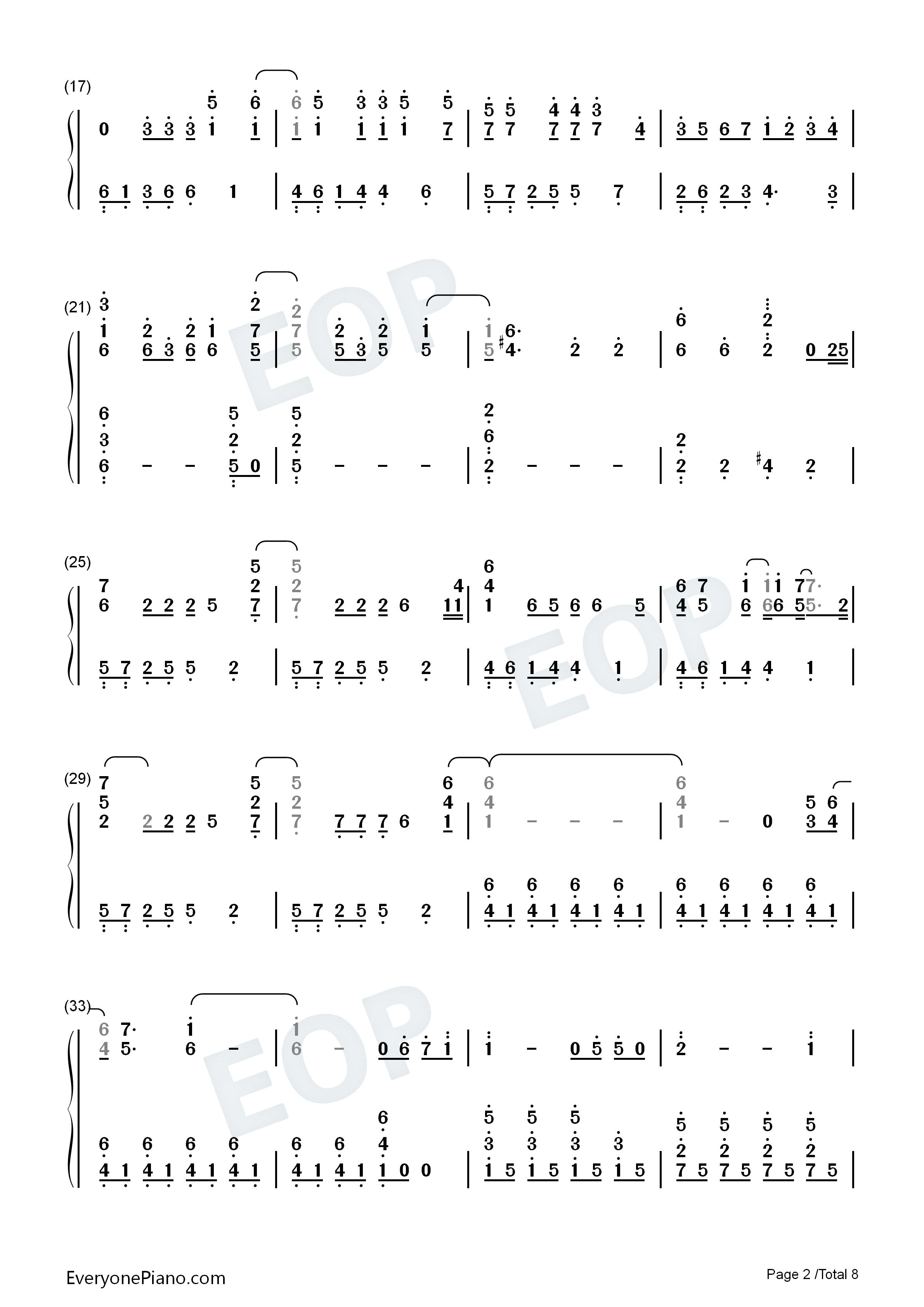 更接近原版 冰雪奇缘主题曲双手简谱预览 EOP在线乐谱架