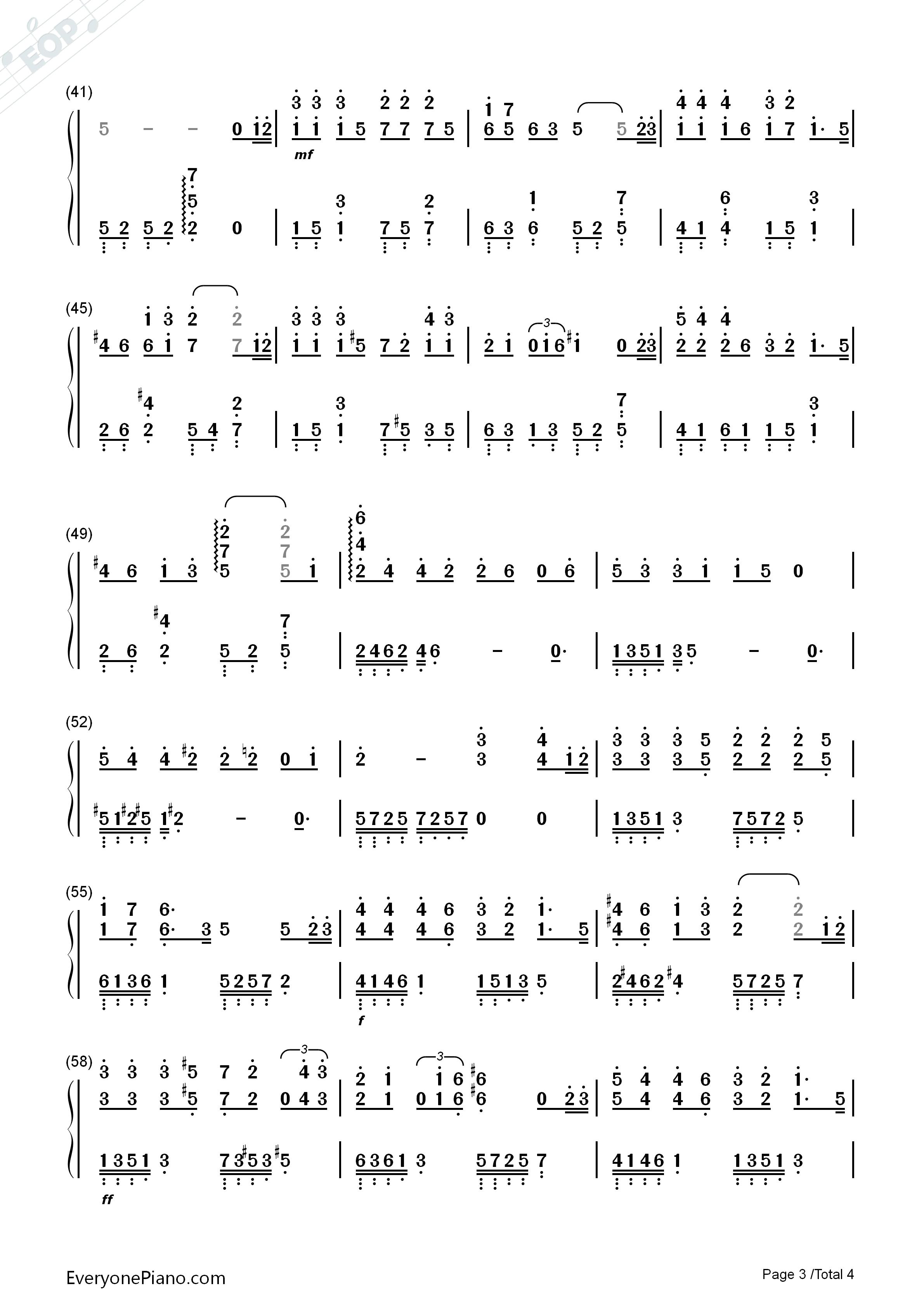 不再见-小时代3:刺金时代主题曲双手简谱预览3-钢琴图片