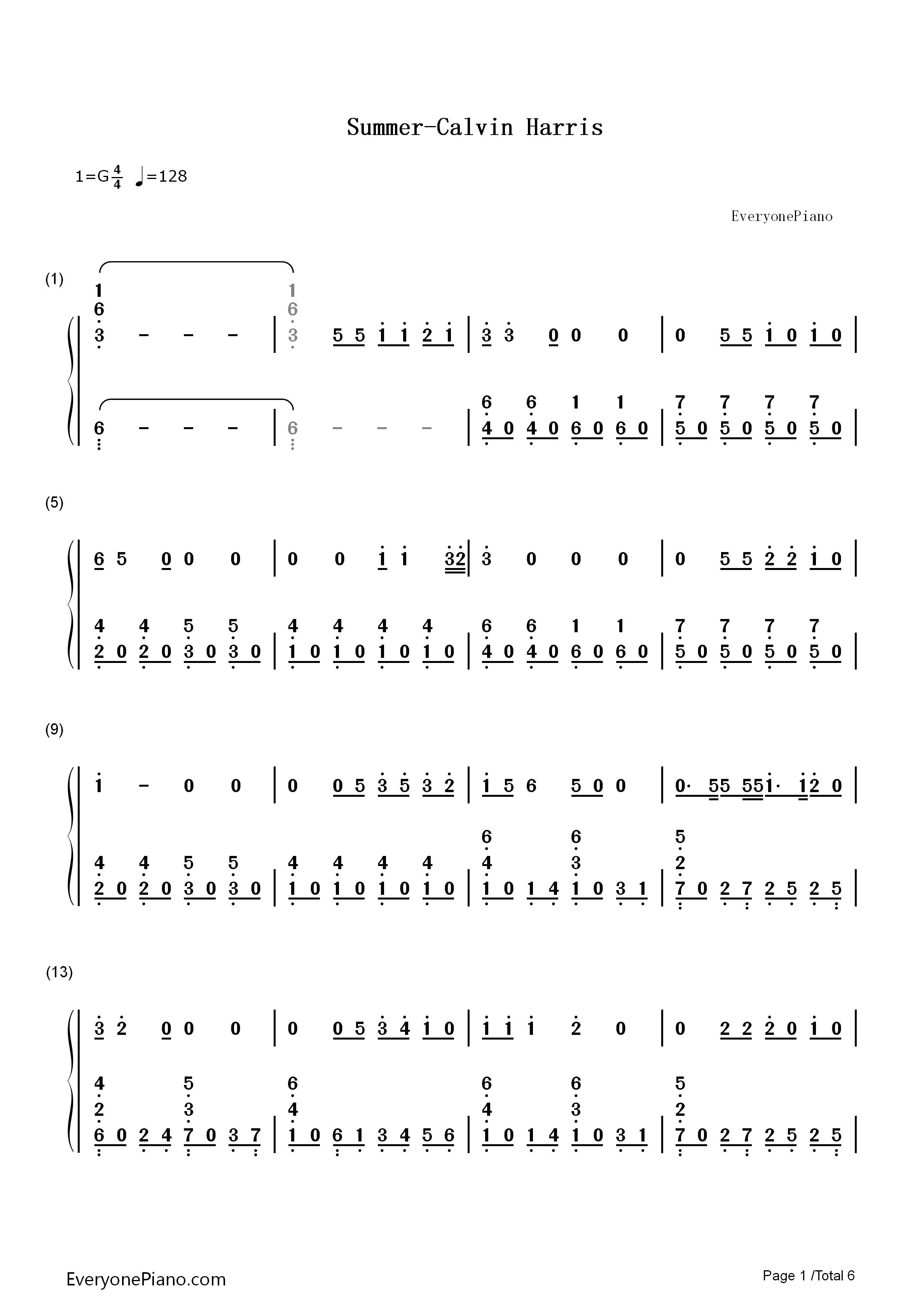 summer-calvin harris双手简谱预览1-钢琴谱(五线谱,)
