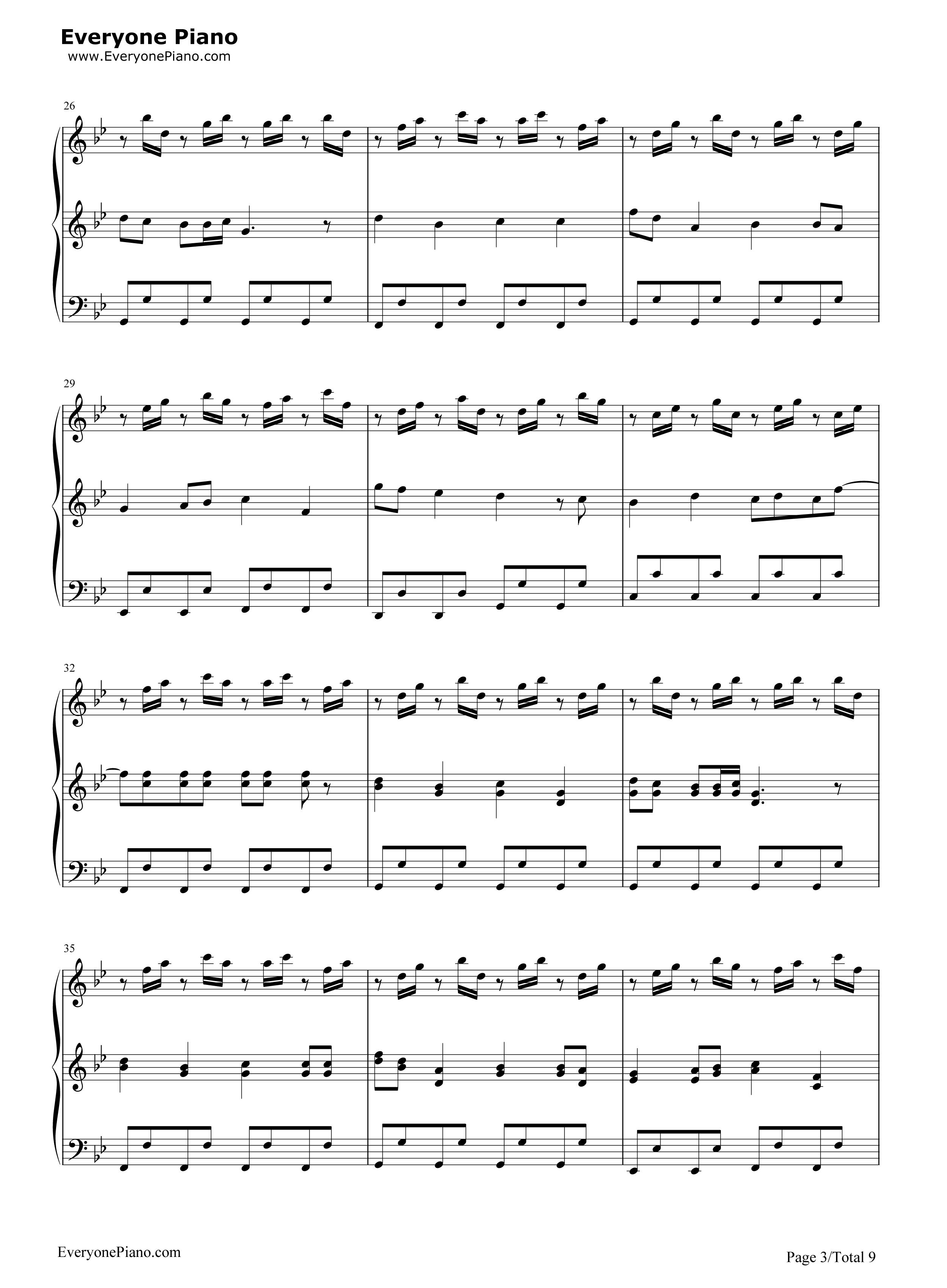 小苹果-三声部版-筷子兄弟五线谱预览3-钢琴谱