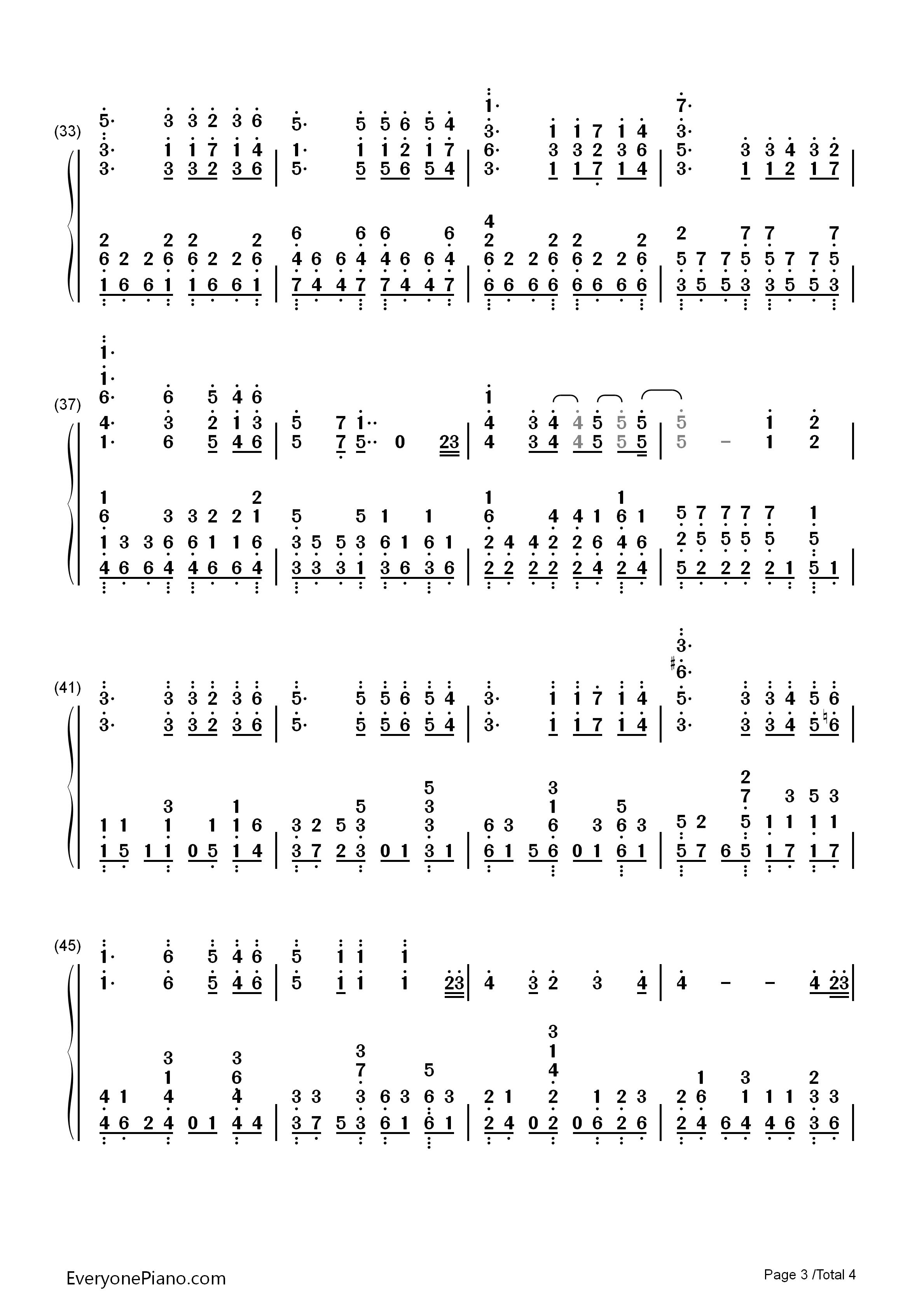 ed12双手简谱预览3  亲,在你免费下载谱子之后,请顺便给弹奏的大神点