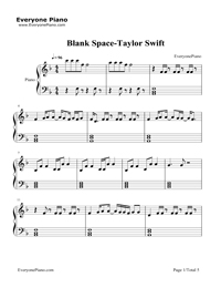 Blank Space-Taylor Swift五线谱预览1