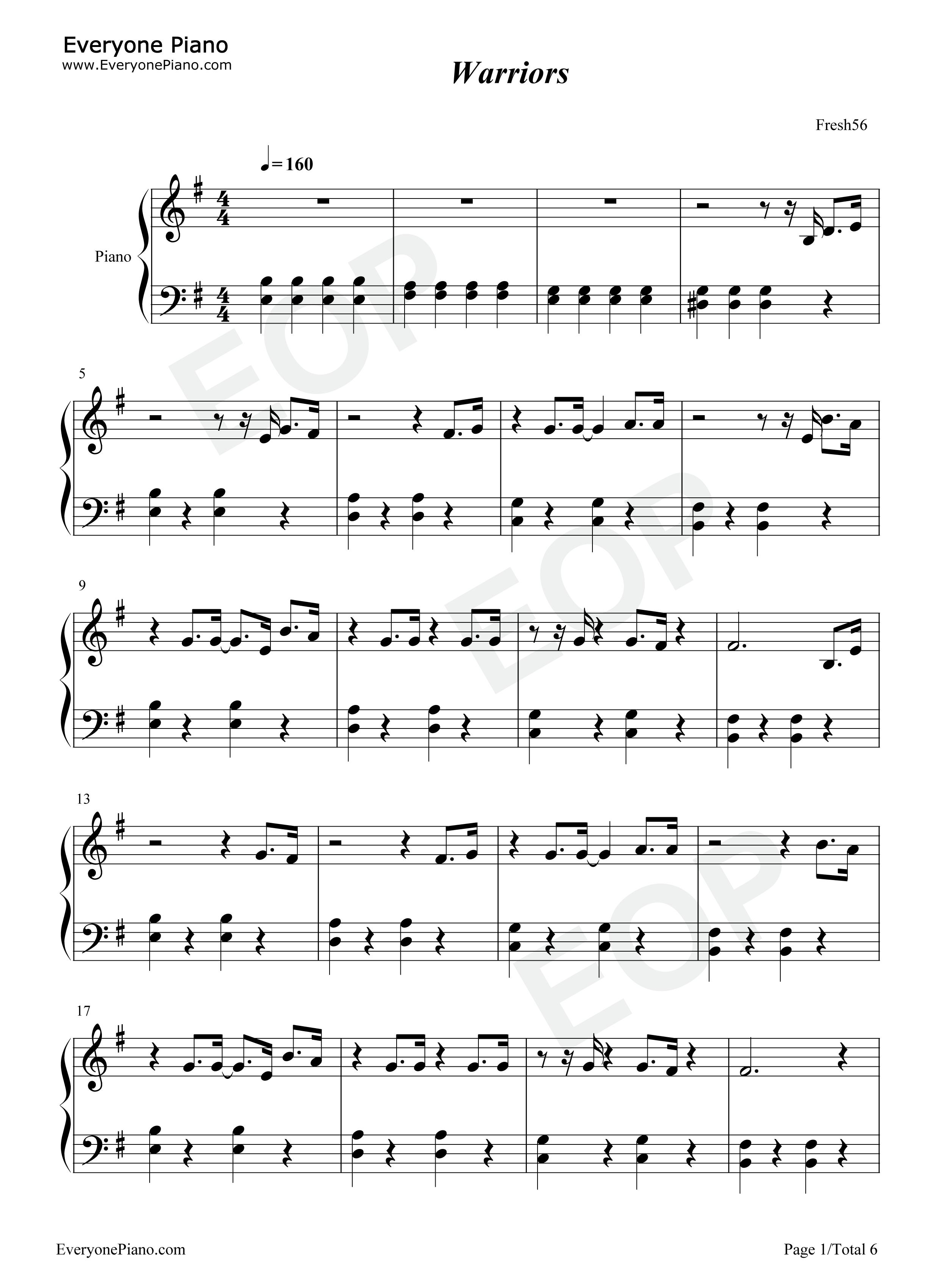 主题曲五线谱预览1