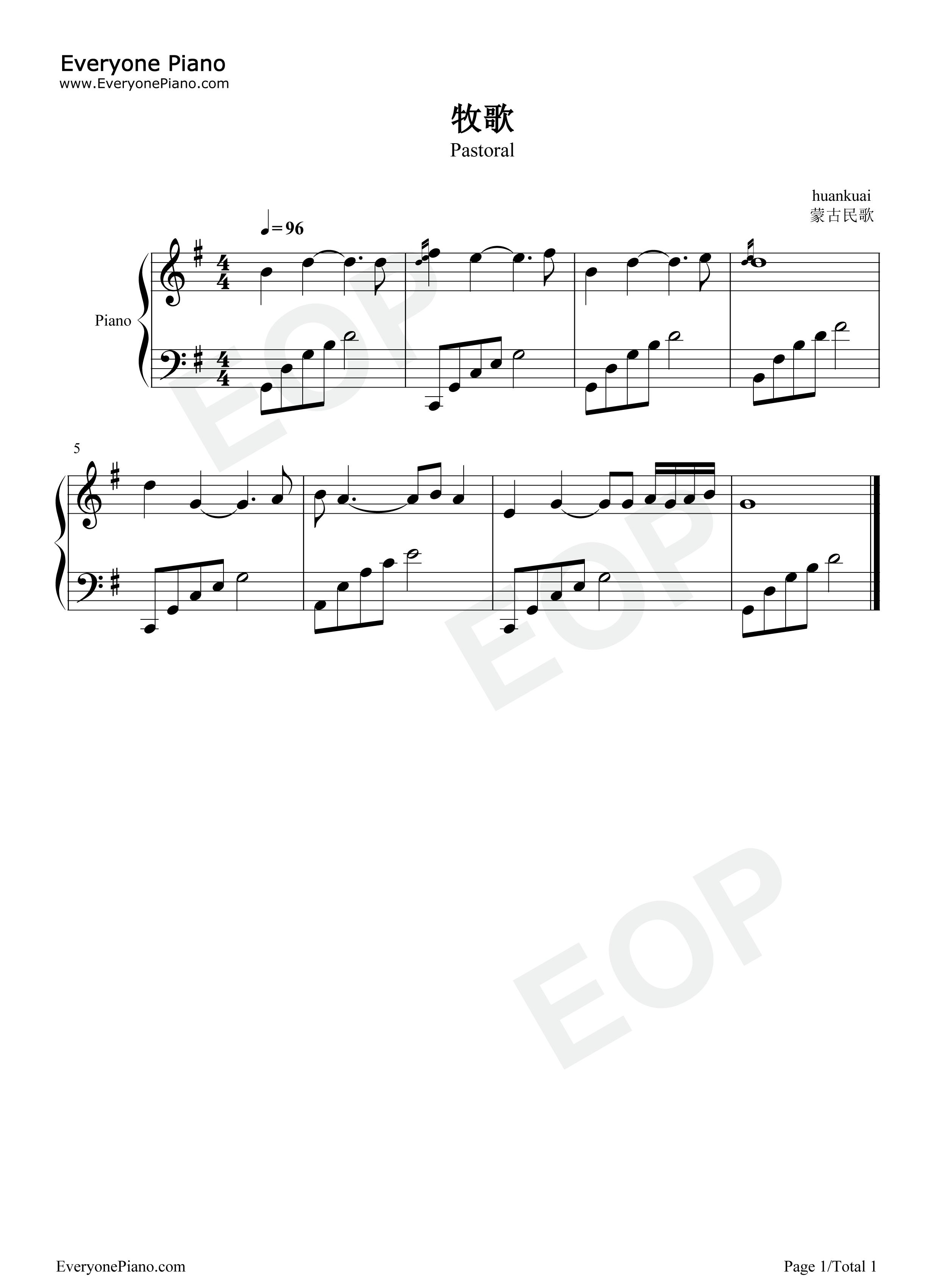 牧歌-乌兰图雅五线谱预览1-钢琴谱(五线谱,双手简谱)