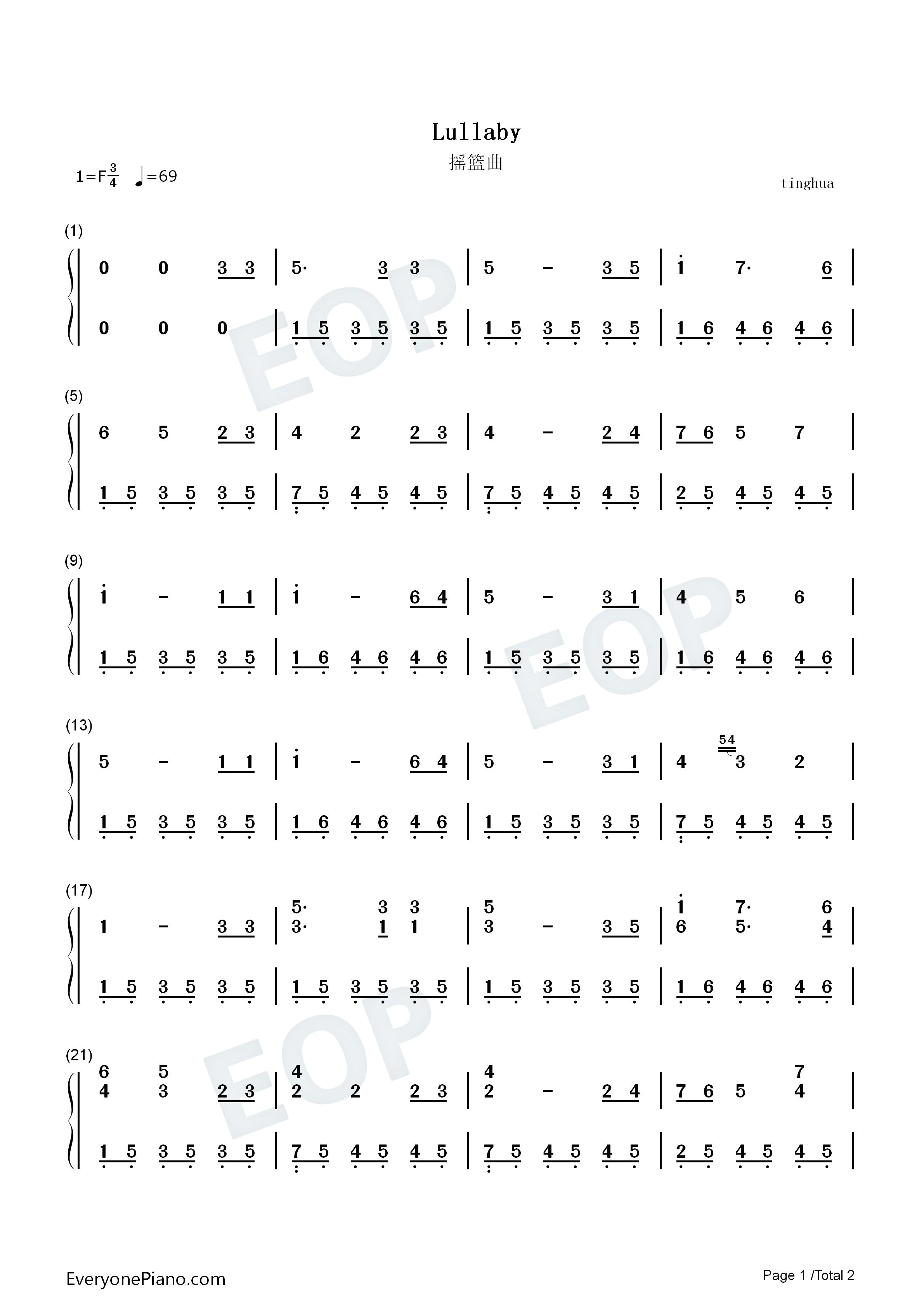 摇篮曲-勃拉姆斯双手简谱预览1