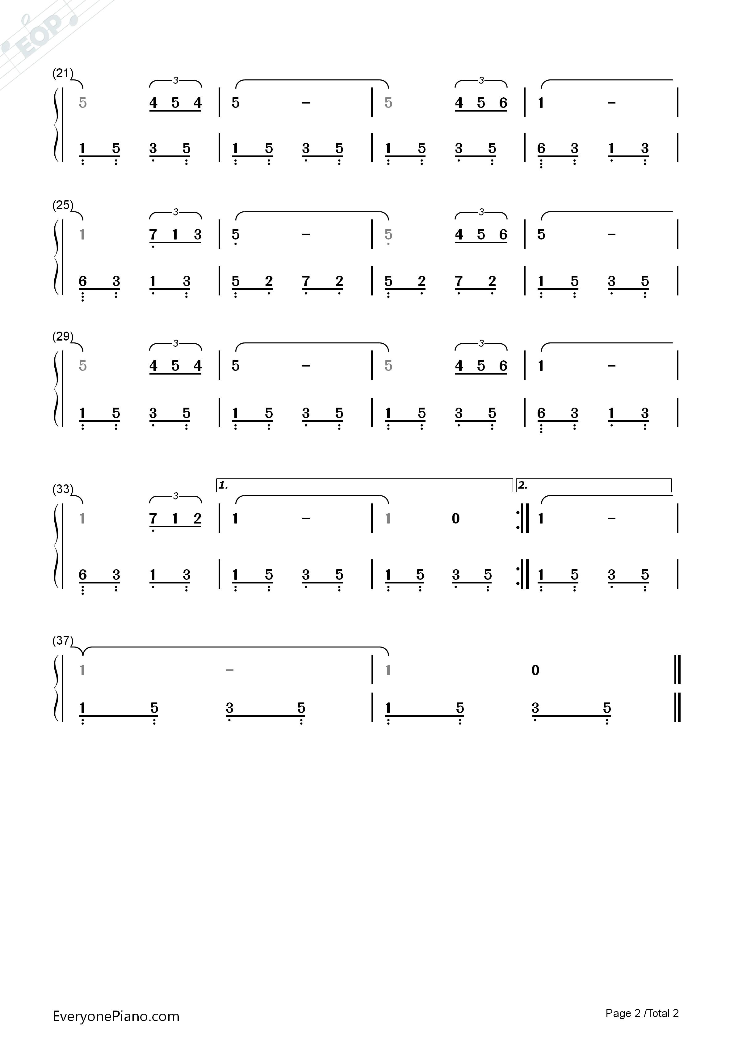 绒花-小花主题曲双手简谱预览2-钢琴谱(五线谱,双手)