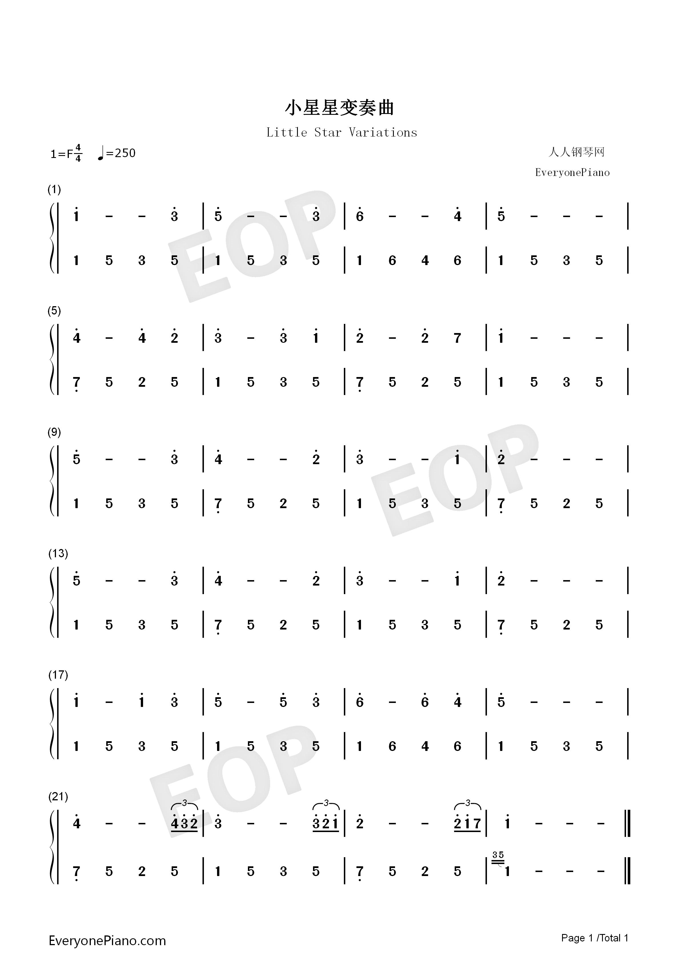 小星星变奏曲-demon双手简谱预览1-钢琴谱