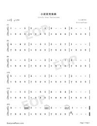 小星星变奏曲-demon钢琴谱文件(五线谱,双手简谱,数字图片