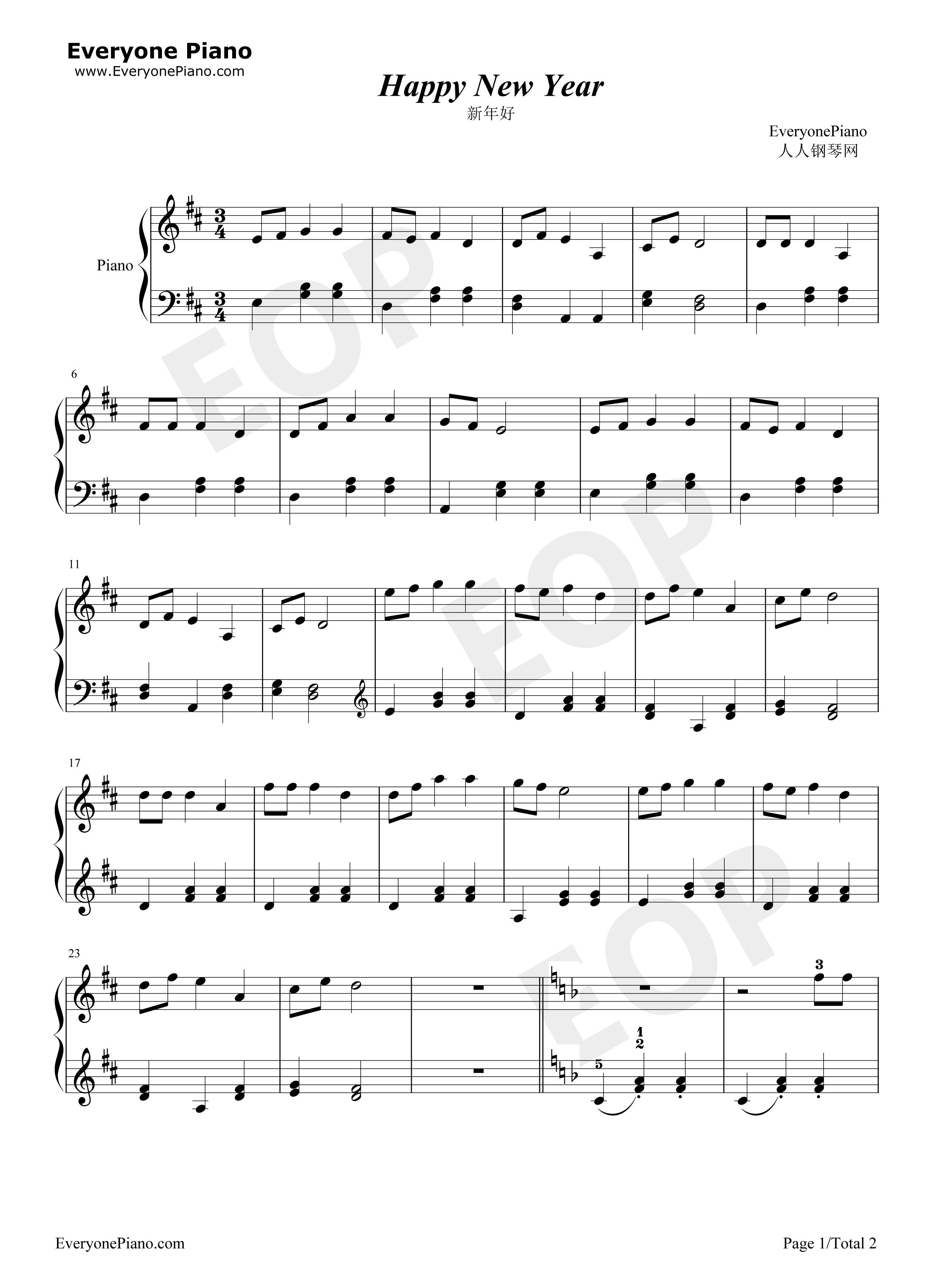 新年好-儿歌五线谱预览1-钢琴谱文件(五线谱,双手简谱