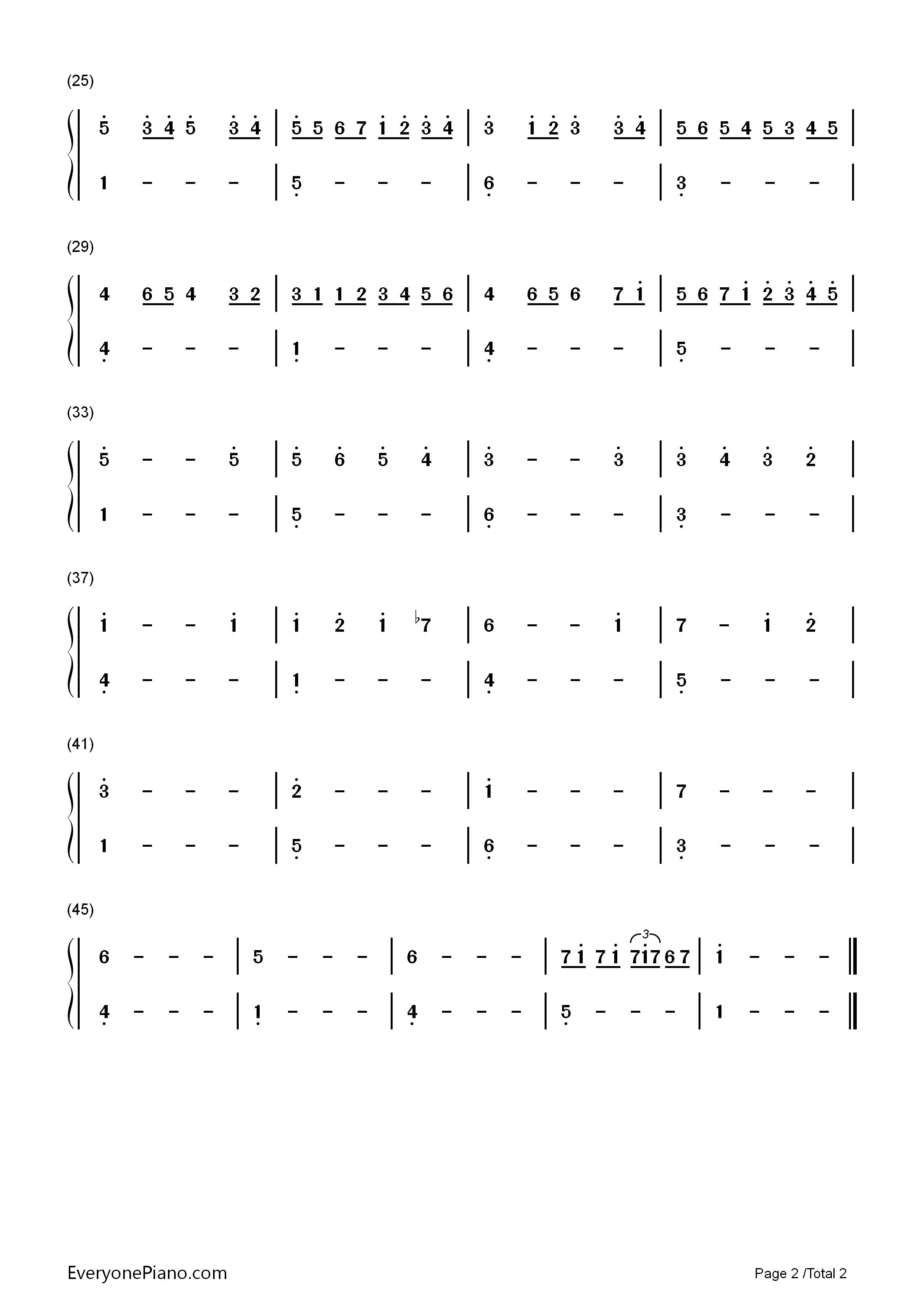 卡农-简单版双手简谱预览2-钢琴谱
