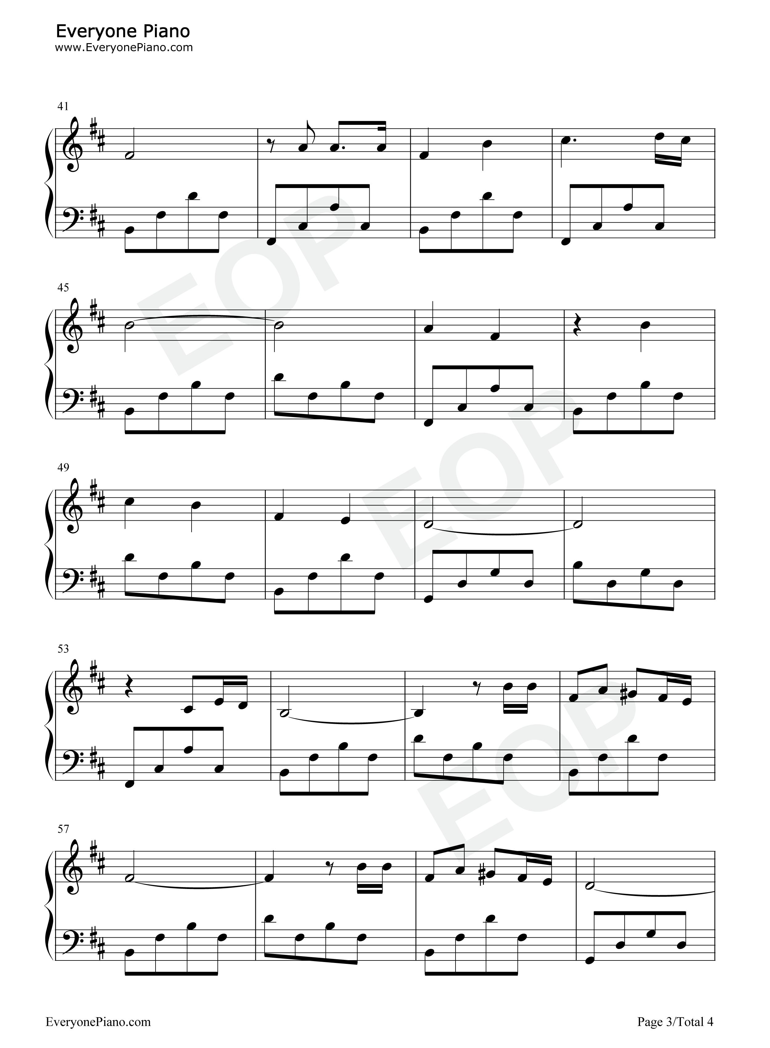 橄榄树-齐豫五线谱预览3-钢琴谱