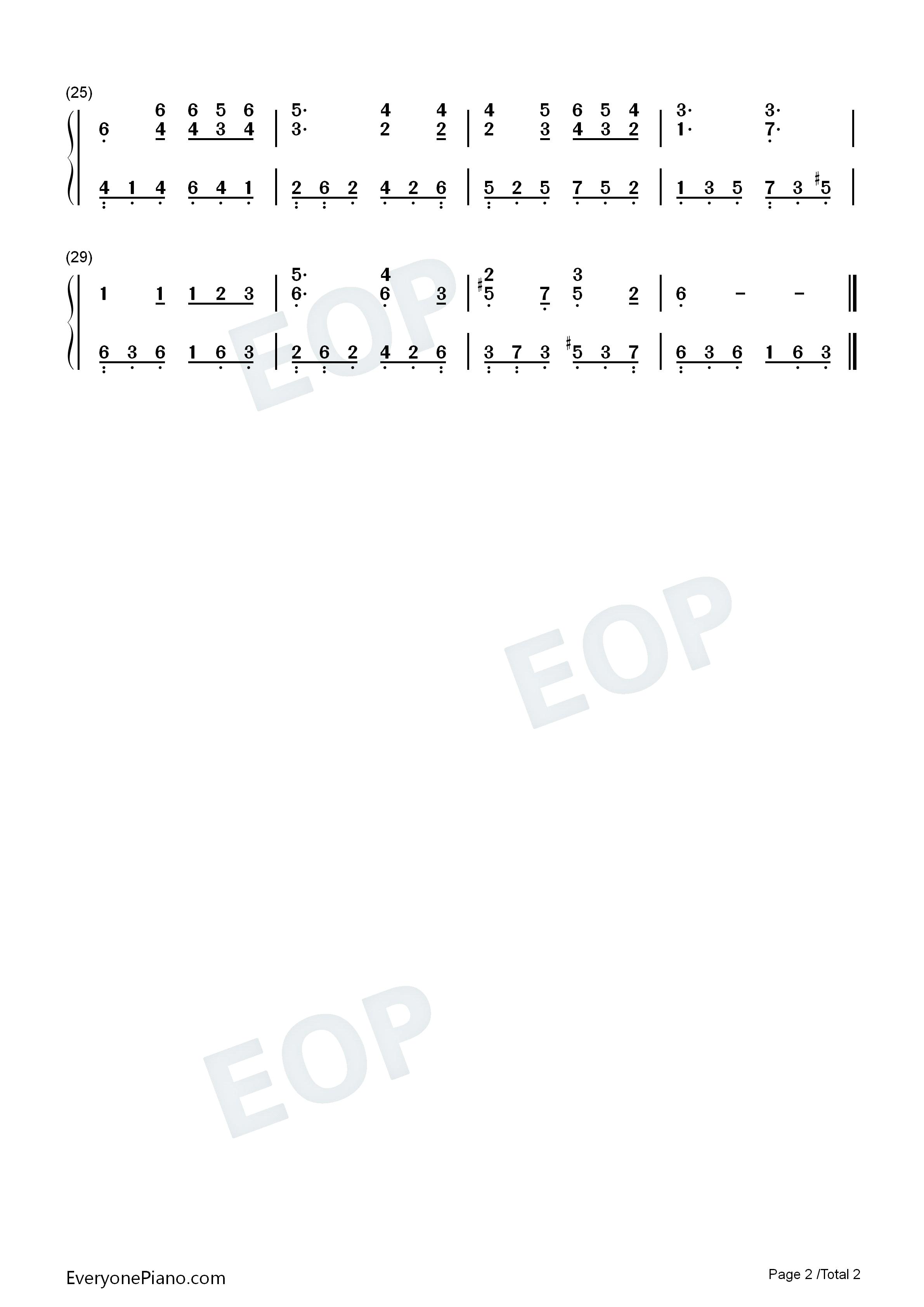 山楂树-钟立风双手简谱预览2-钢琴谱