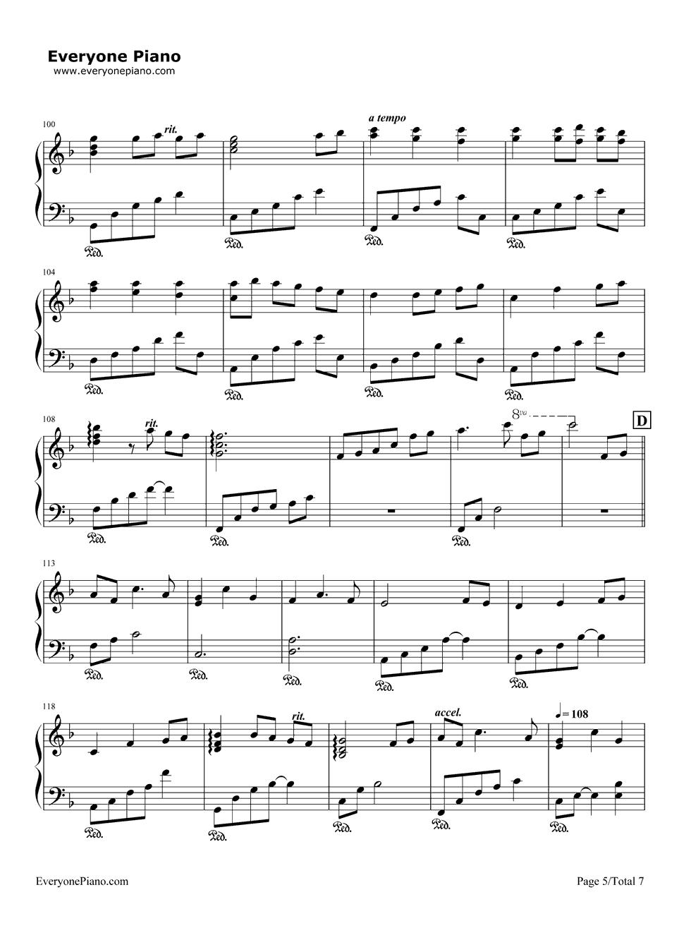 いつも何度でも-千与千寻主题曲五线谱预览5-钢琴谱