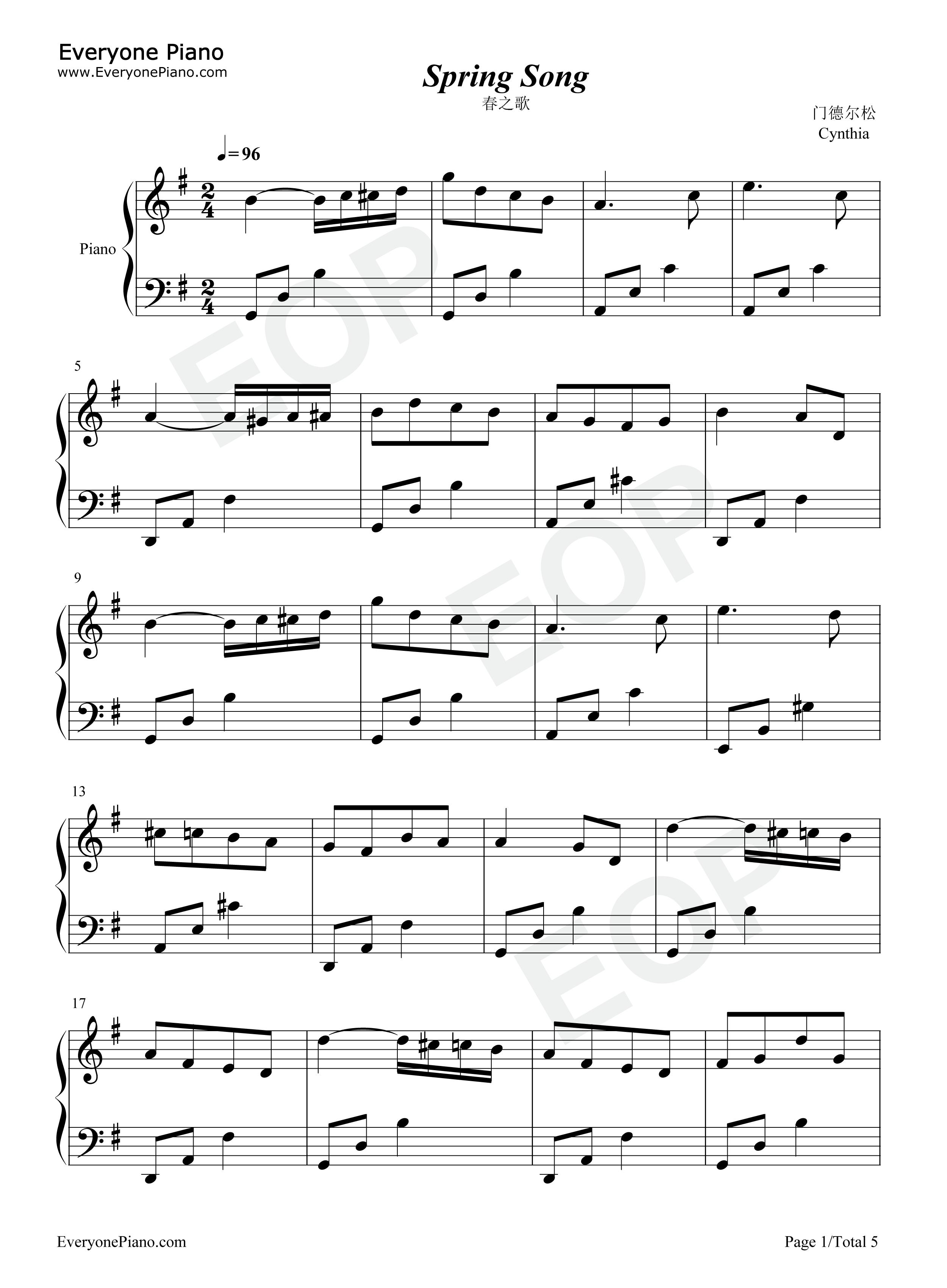 钢琴曲谱 练习曲 春之歌-门德尔松 春之歌-门德尔松五线谱预览1图片
