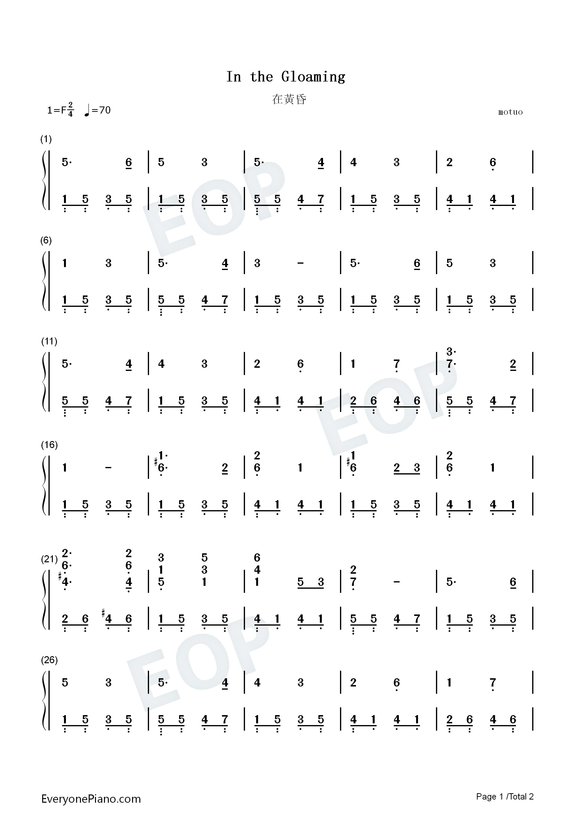 黄昏钢琴简谱