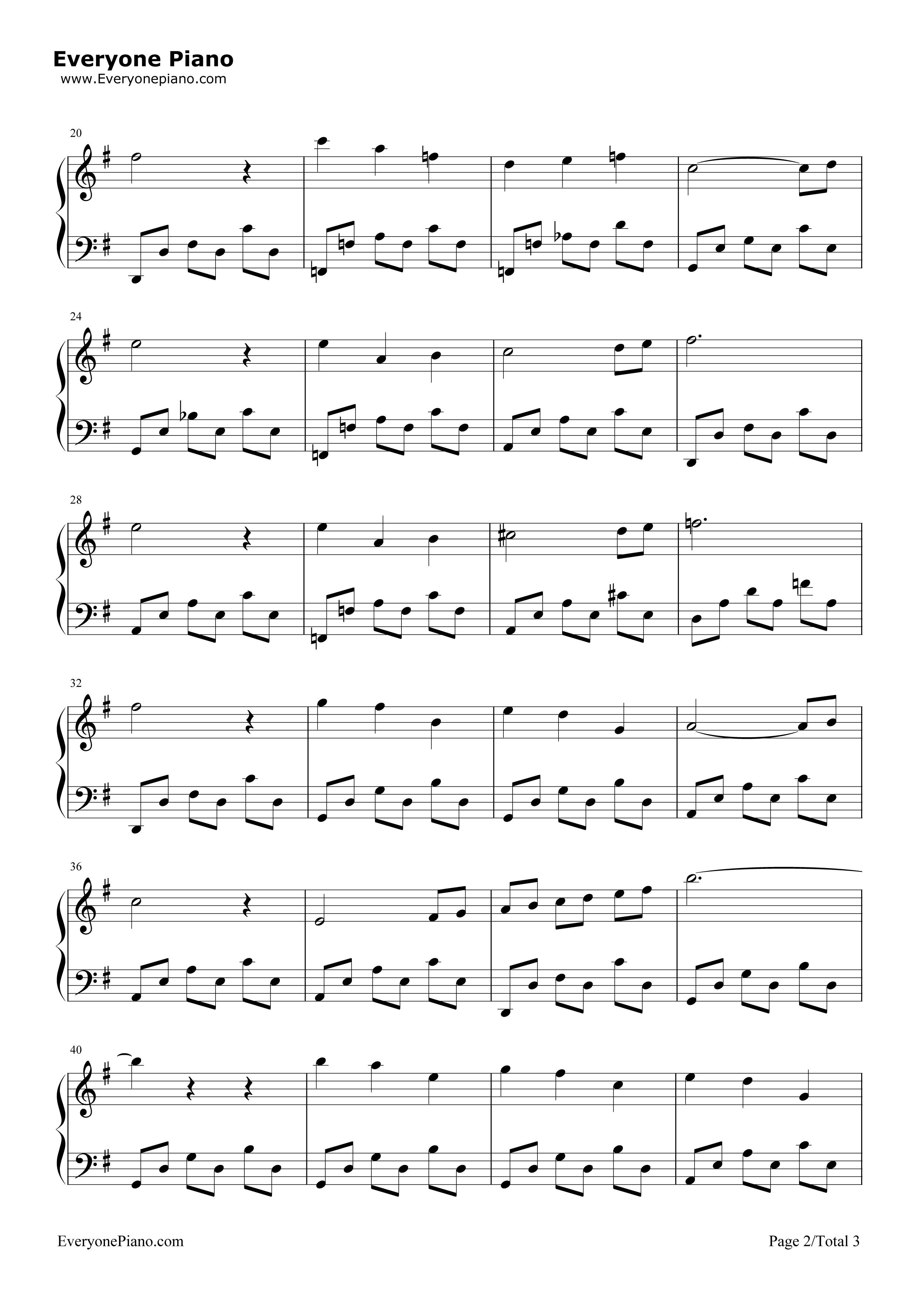 天鹅-动物狂欢节-圣桑五线谱预览2-钢琴谱