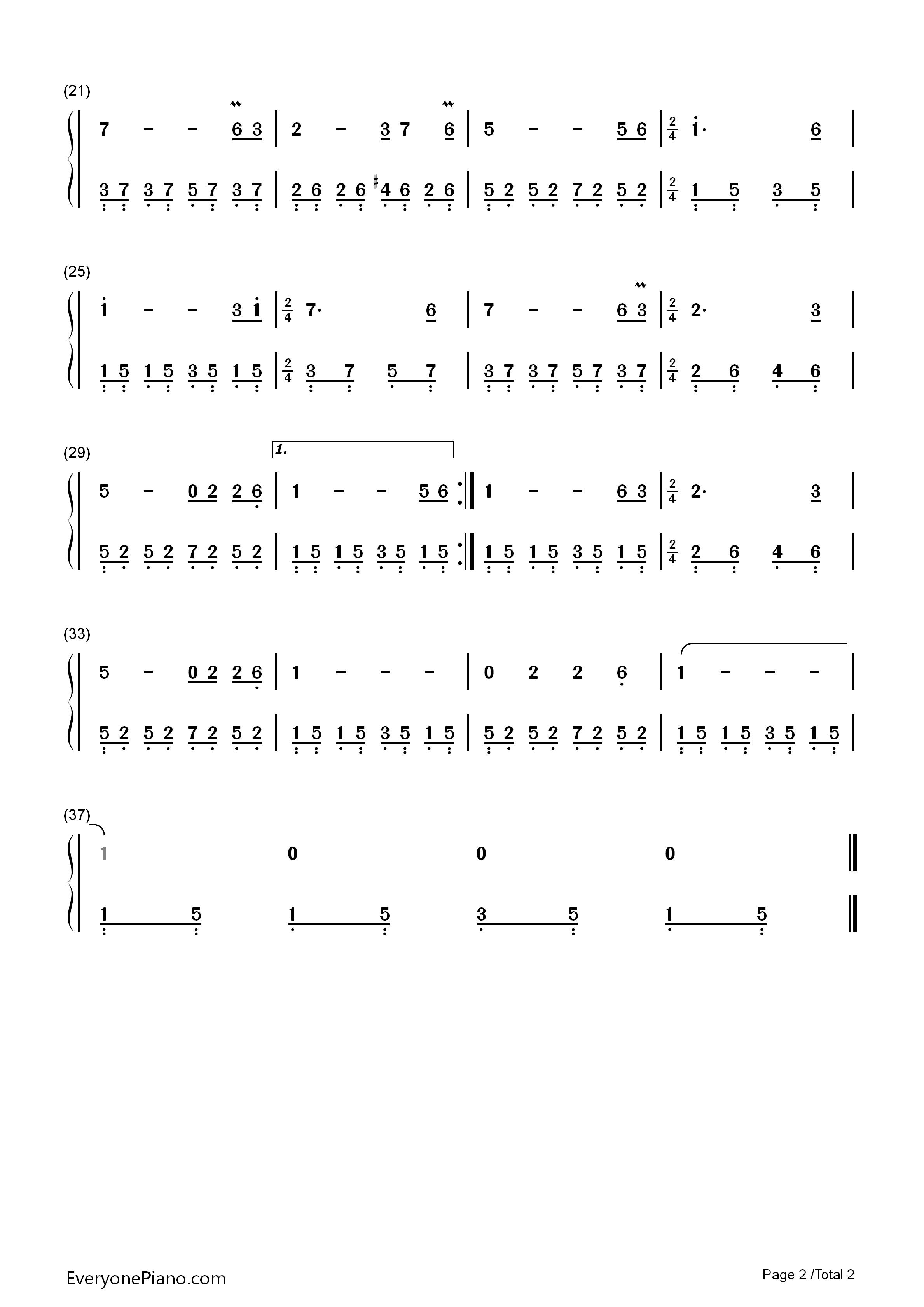 钢琴曲谱 民乐 牧羊曲-少林寺插曲 牧羊曲-少林寺插曲双手简谱预览2