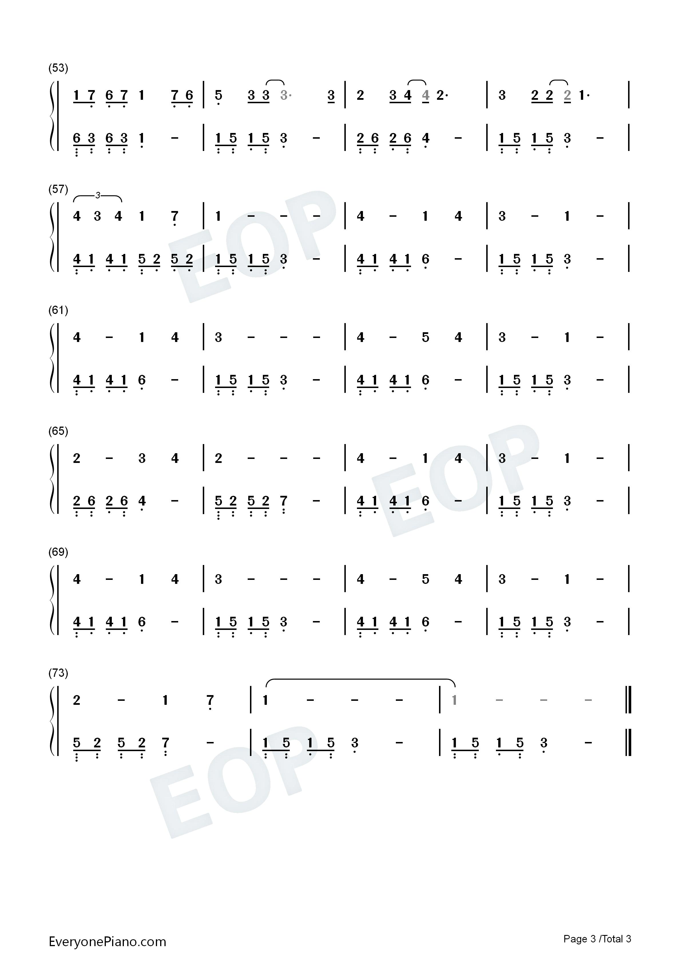 旋木-王菲双手简谱预览3-钢琴谱图片