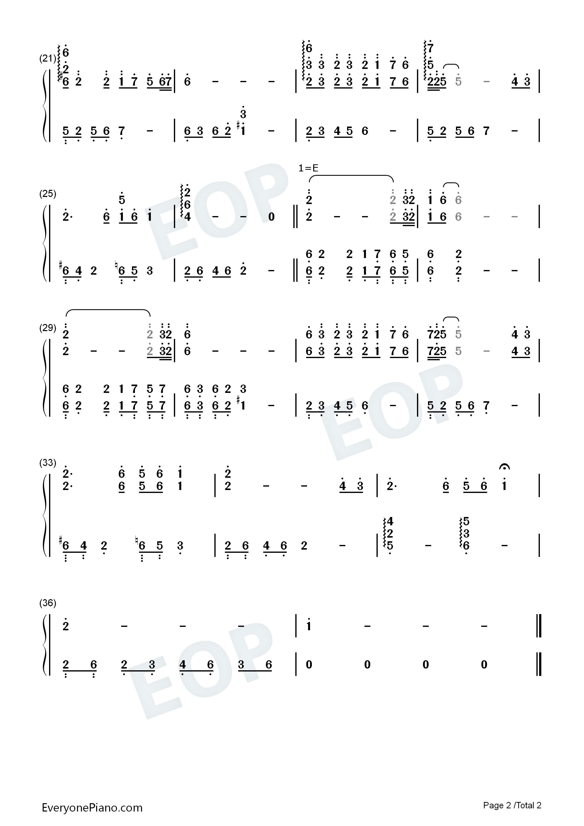 九儿-红高粱片尾曲-韩红双手简谱预览2