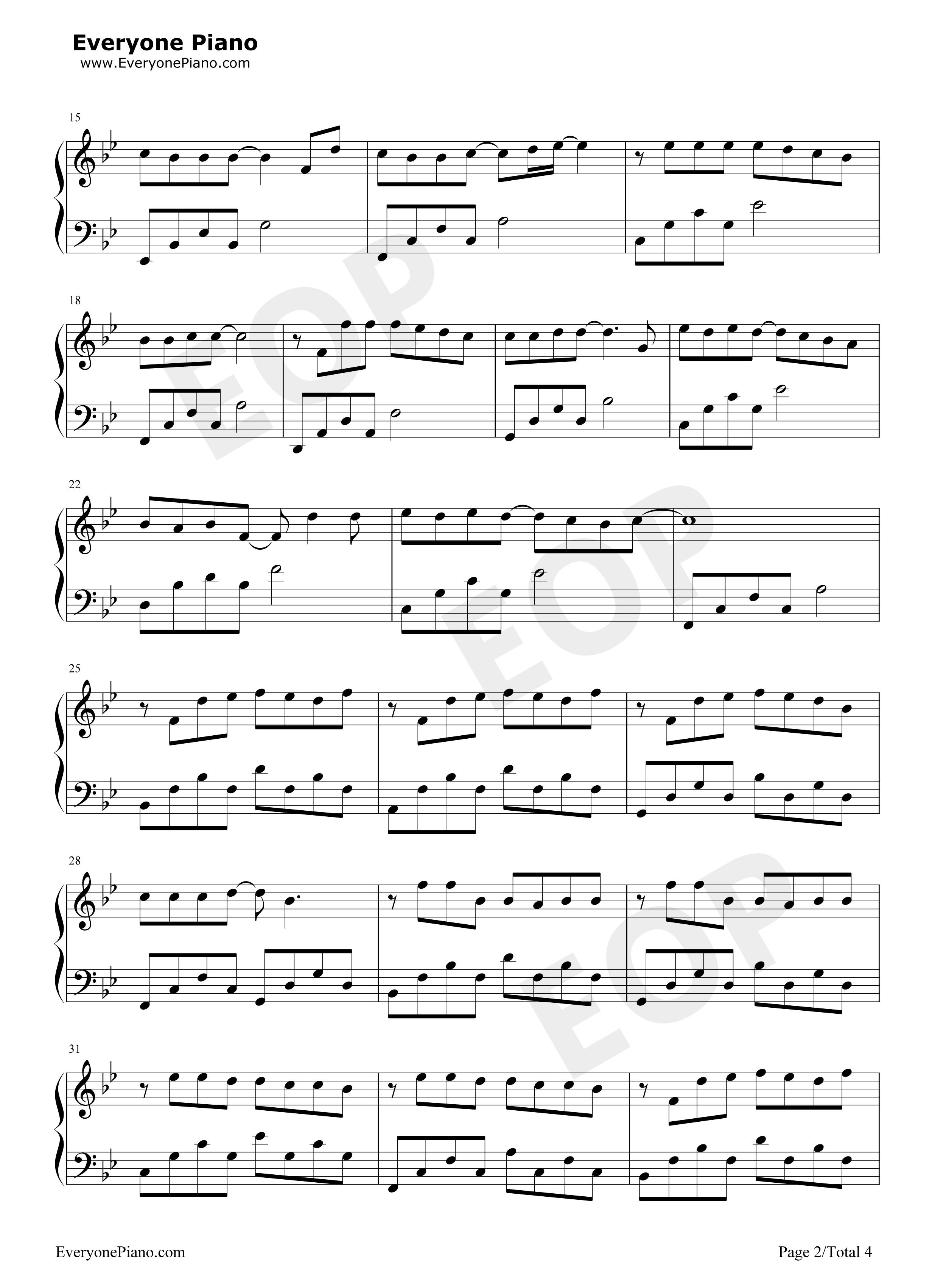 安静-周杰伦五线谱预览2-钢琴谱(五线谱,双手简谱)