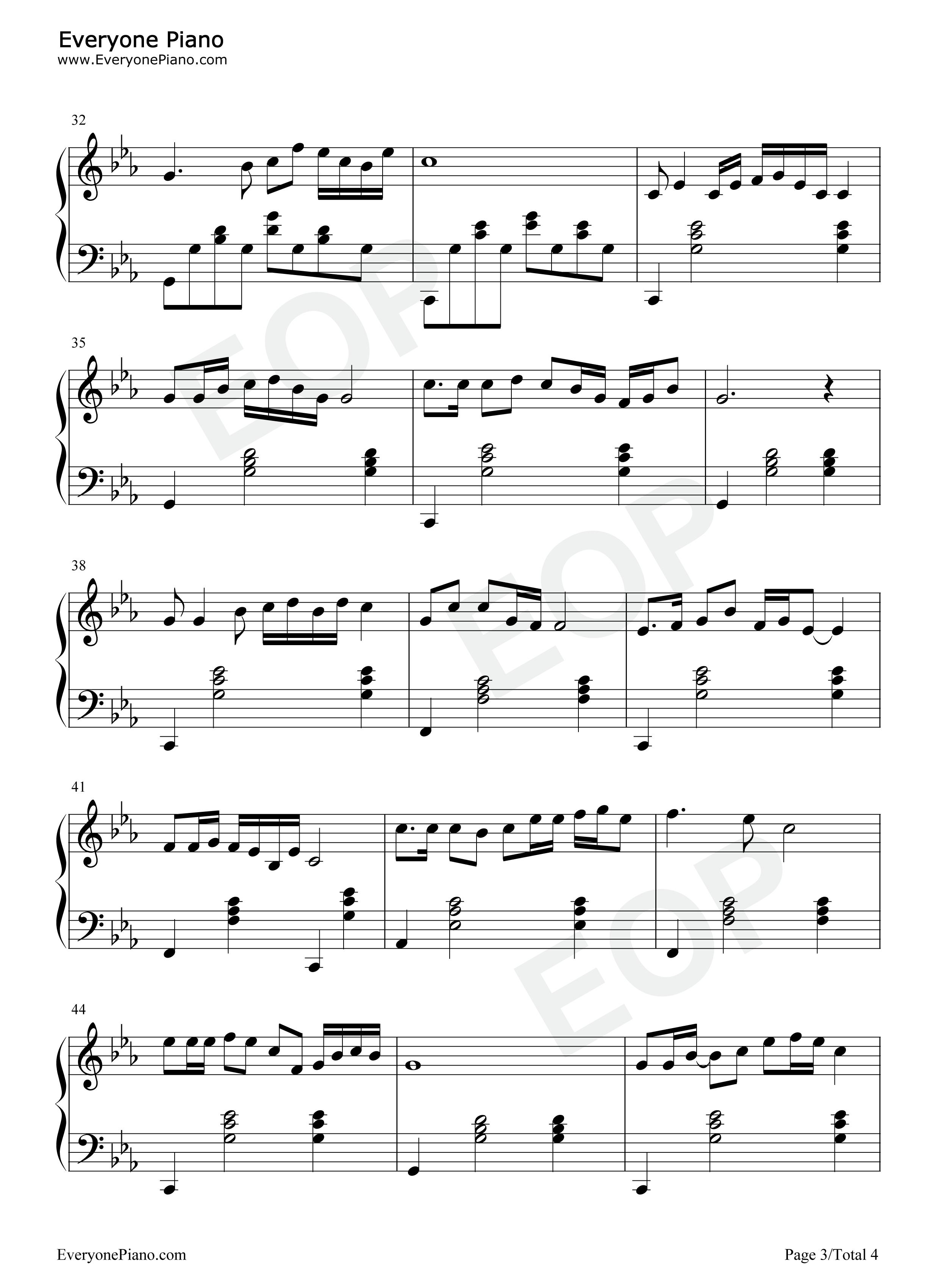 钢琴曲谱 流行 天路-韩红 天路-韩红五线谱预览3   仅供个人学习交流