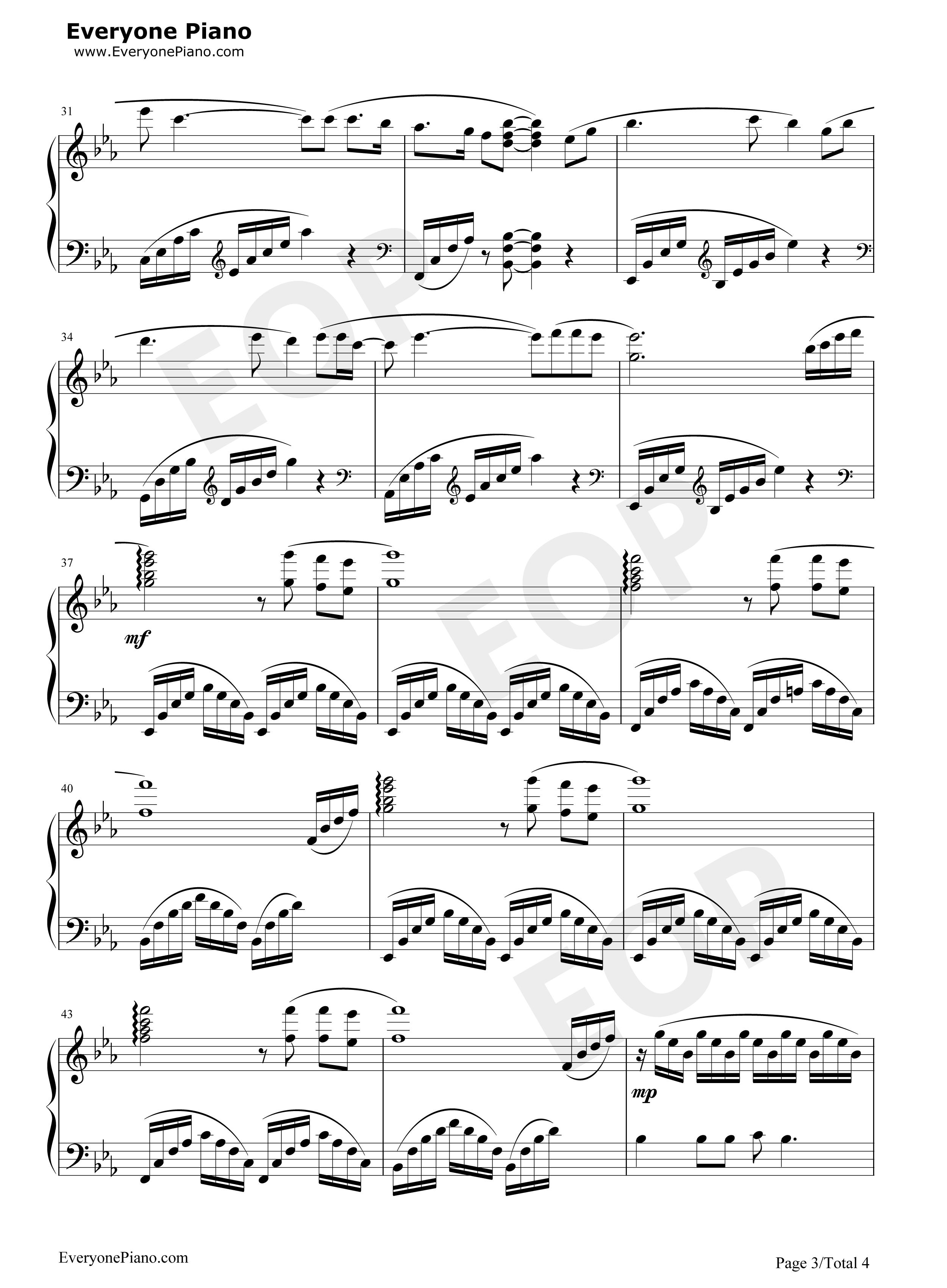 红旗飘飘-孙楠五线谱预览3-钢琴谱(五线谱,双手简谱)