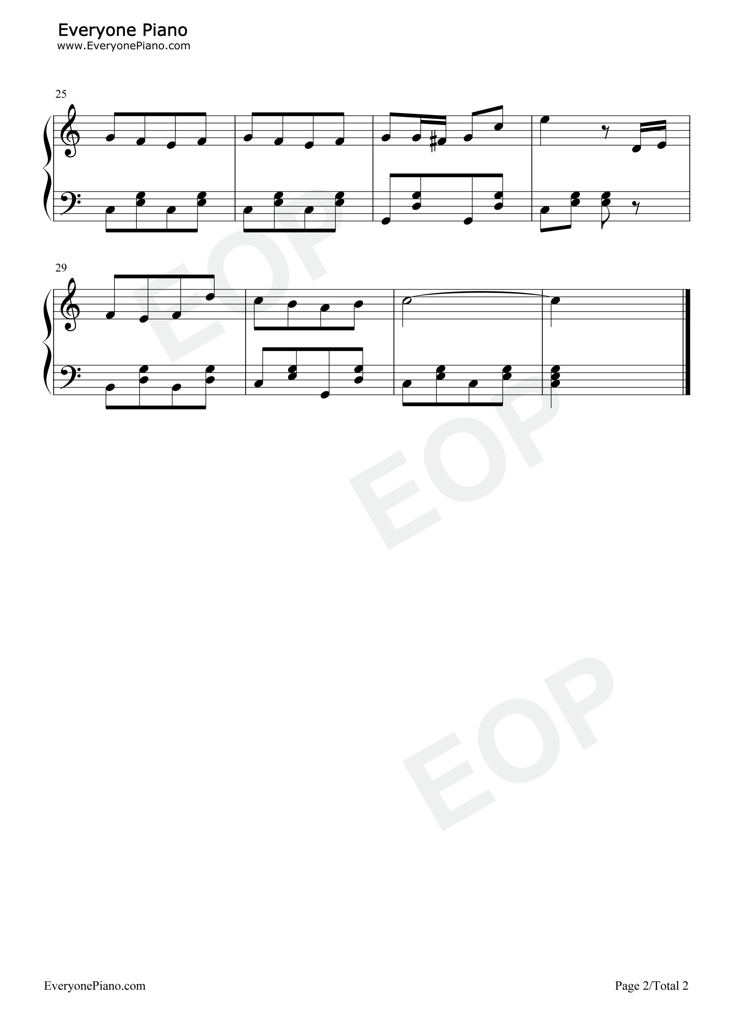 蓝精灵之歌-蓝精灵中文主题歌五线谱预览2-钢琴谱(