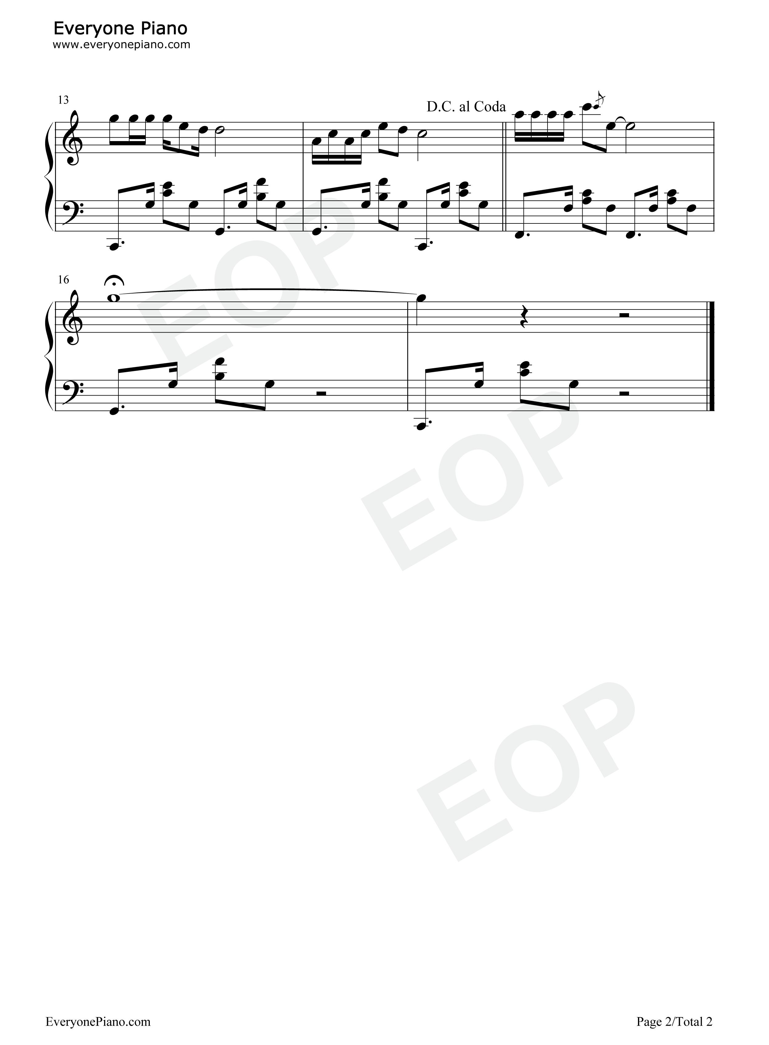 山不转水转-那英五线谱预览2-钢琴谱(五线谱,双手简谱