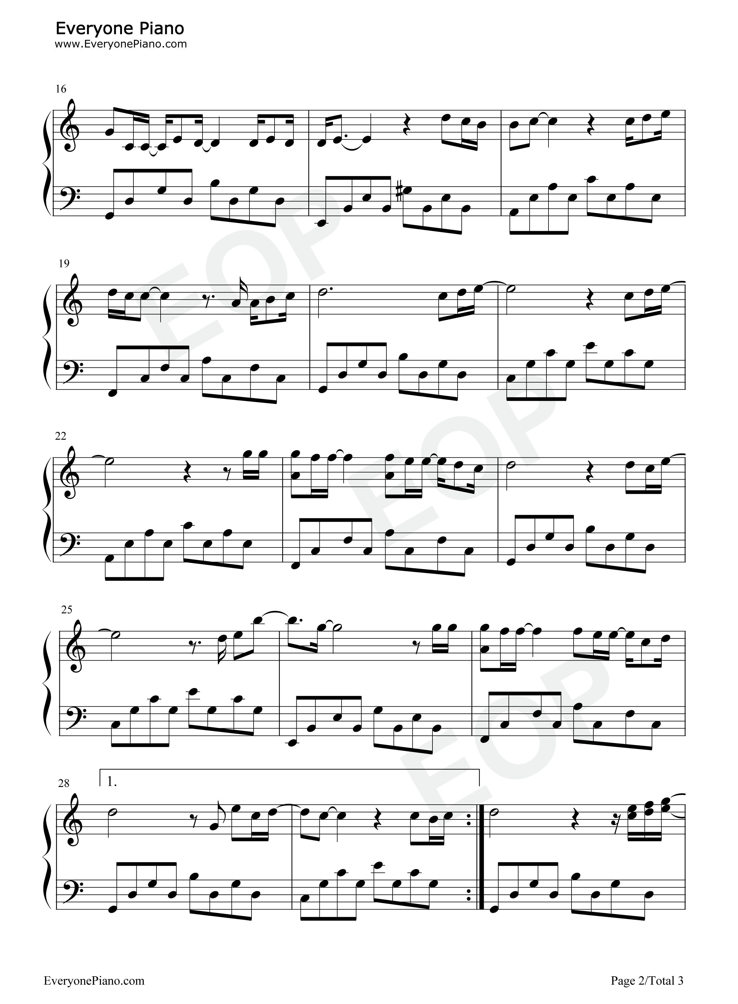 无所谓-杨坤五线谱预览2-钢琴谱(五线谱,双手简谱)