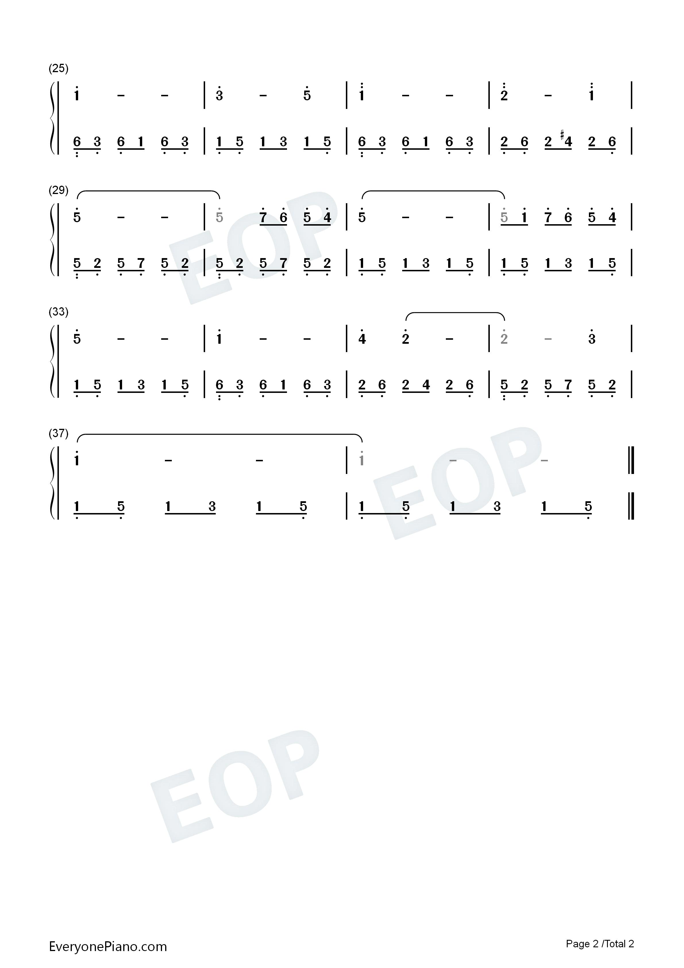 简谱预览2-钢琴谱(五线谱